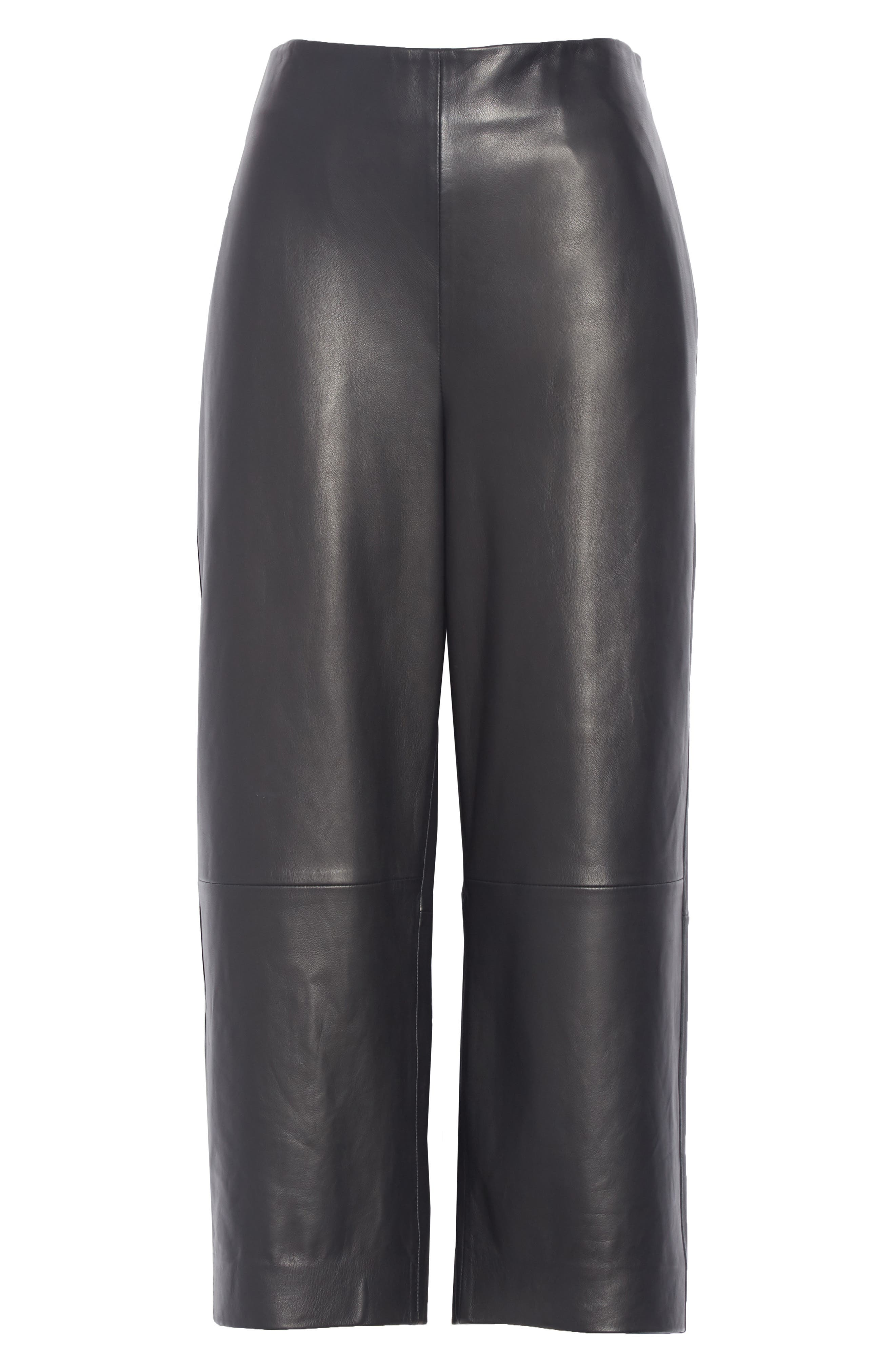 Wide Leg Crop Leather Pants,                             Alternate thumbnail 6, color,                             BLACK
