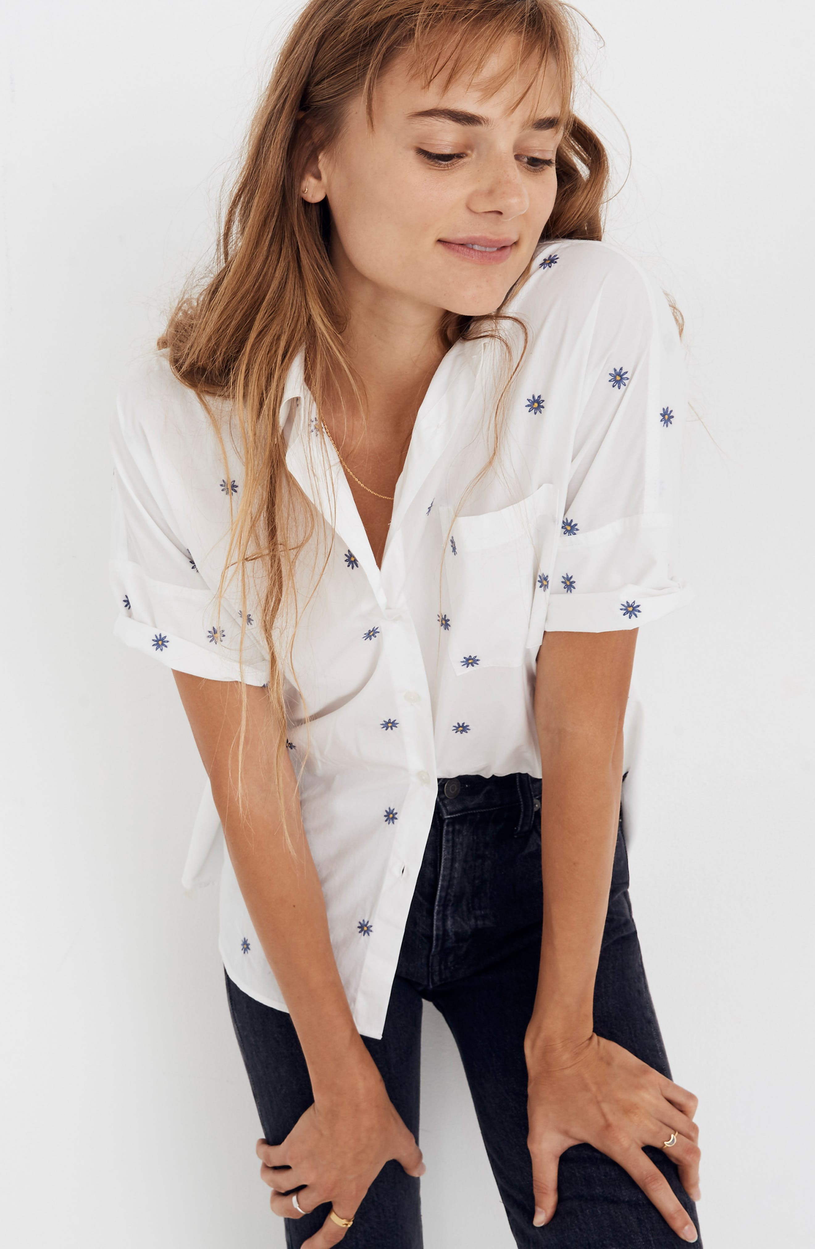 Daisy Embroidered Courier Shirt,                             Alternate thumbnail 4, color,                             401