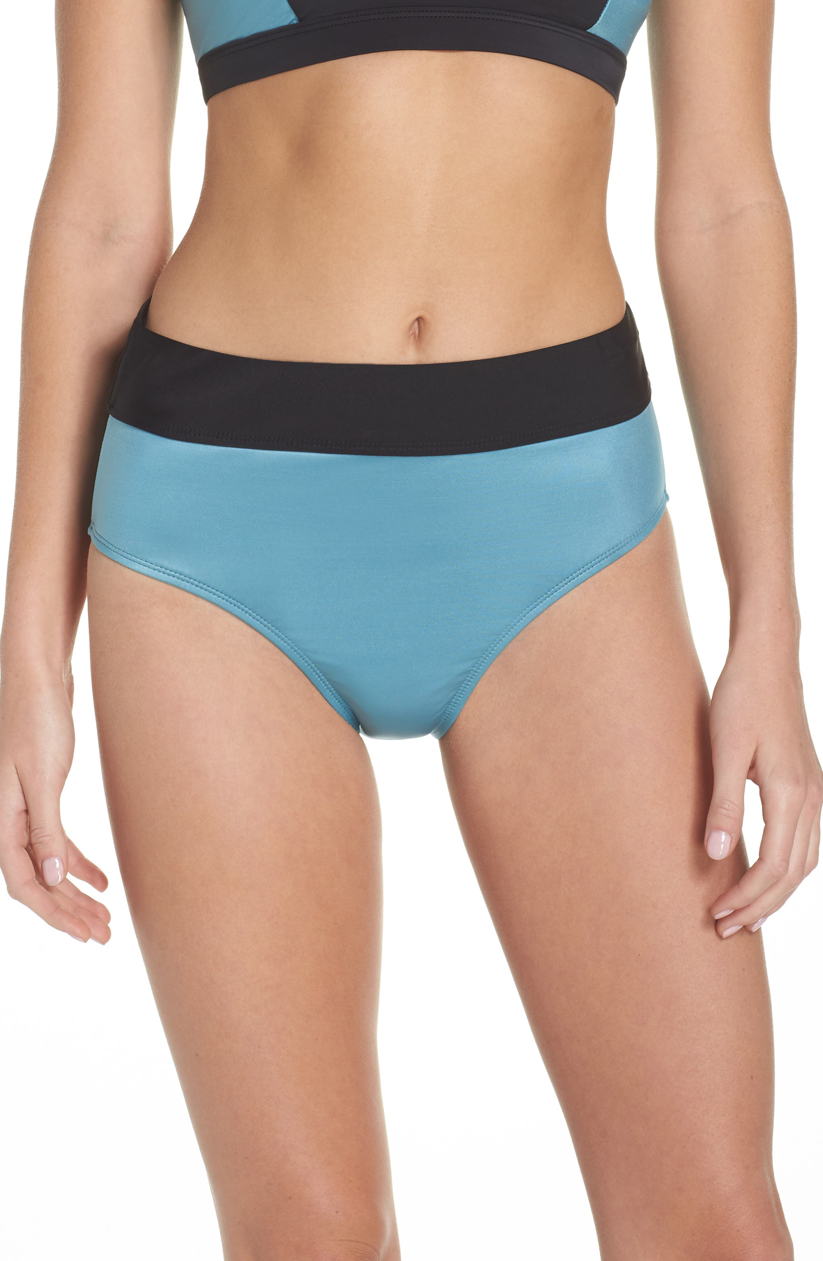 Element High Waist Bikini Bottoms,                         Main,                         color, TEAL DOLPHIN