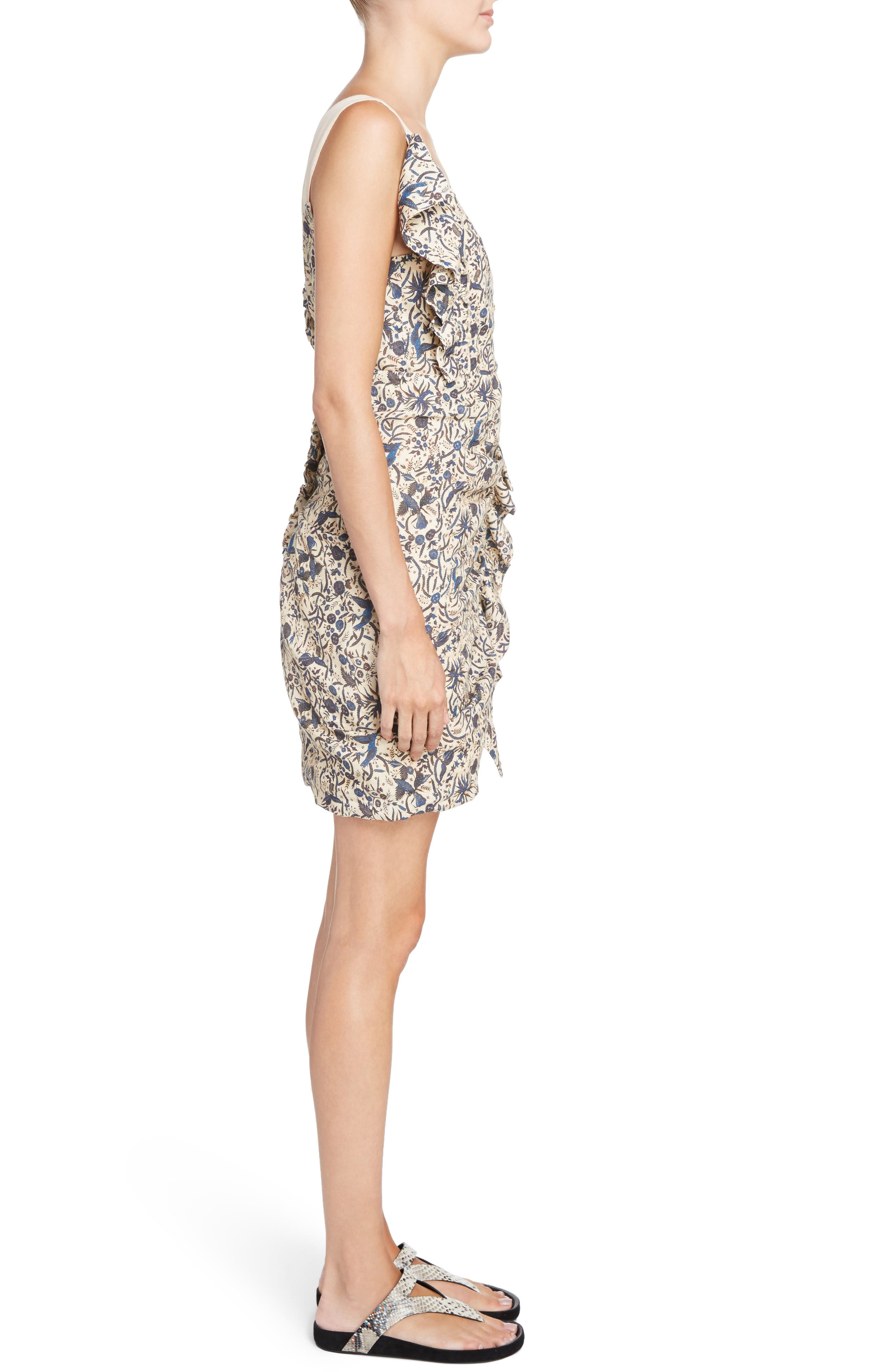 Topaz Print Linen Dress,                             Alternate thumbnail 3, color,                             250
