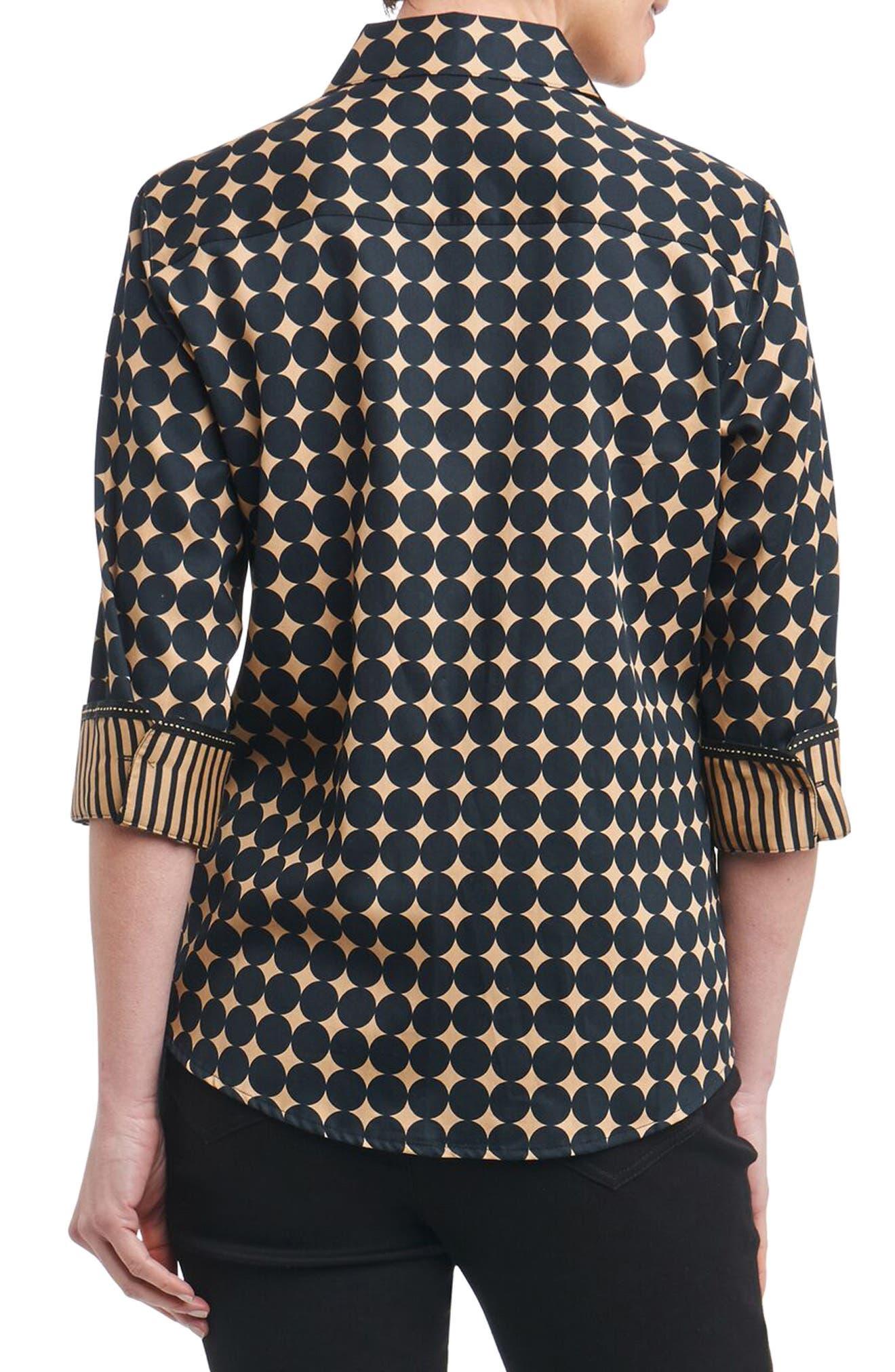 Ava Non-Iron Dot Print Cotton Shirt,                             Alternate thumbnail 2, color,