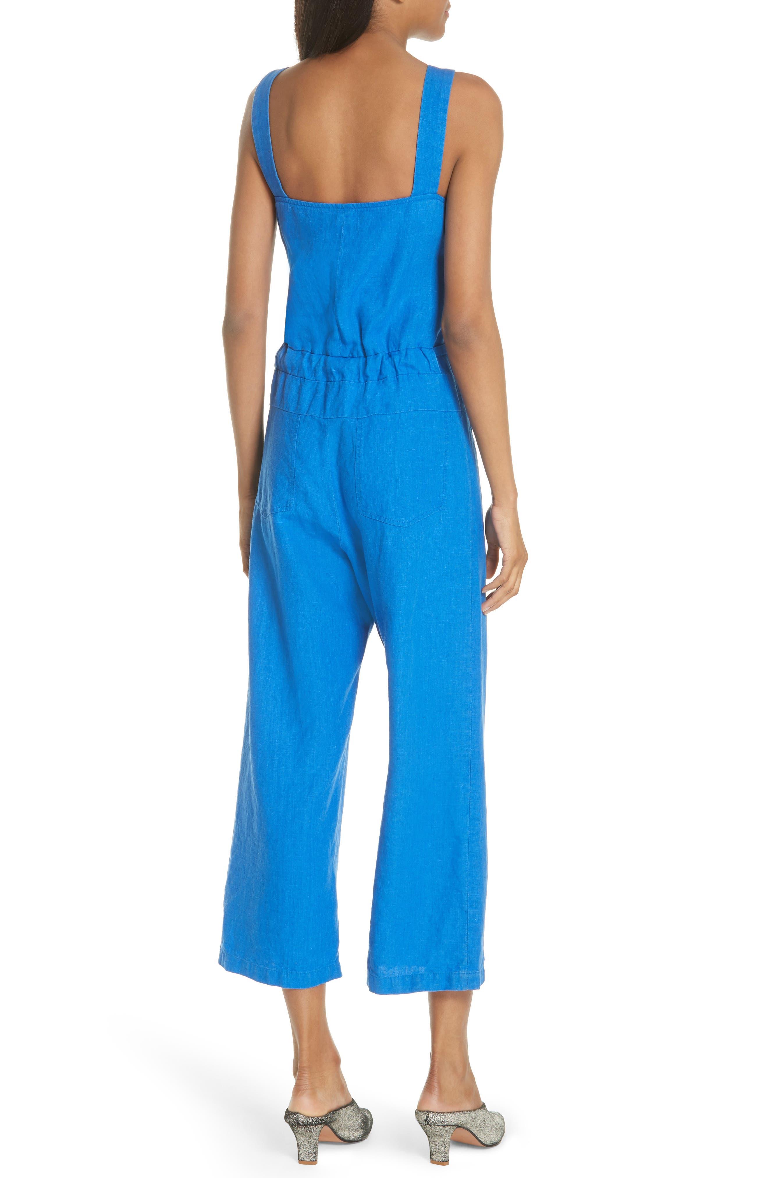 Bend Linen Jumpsuit,                             Alternate thumbnail 2, color,                             LAPIS