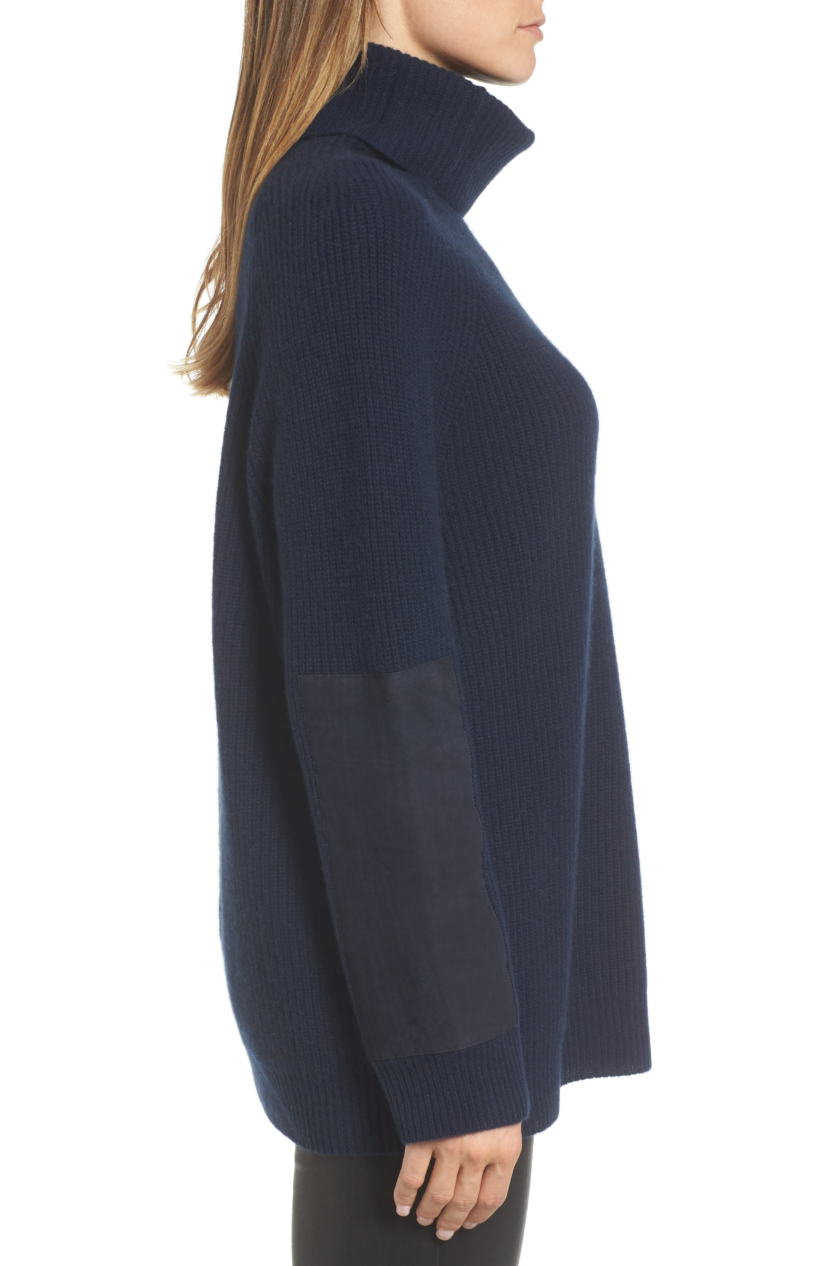 Suede Patch Cashmere Sweater,                             Alternate thumbnail 3, color,                             410
