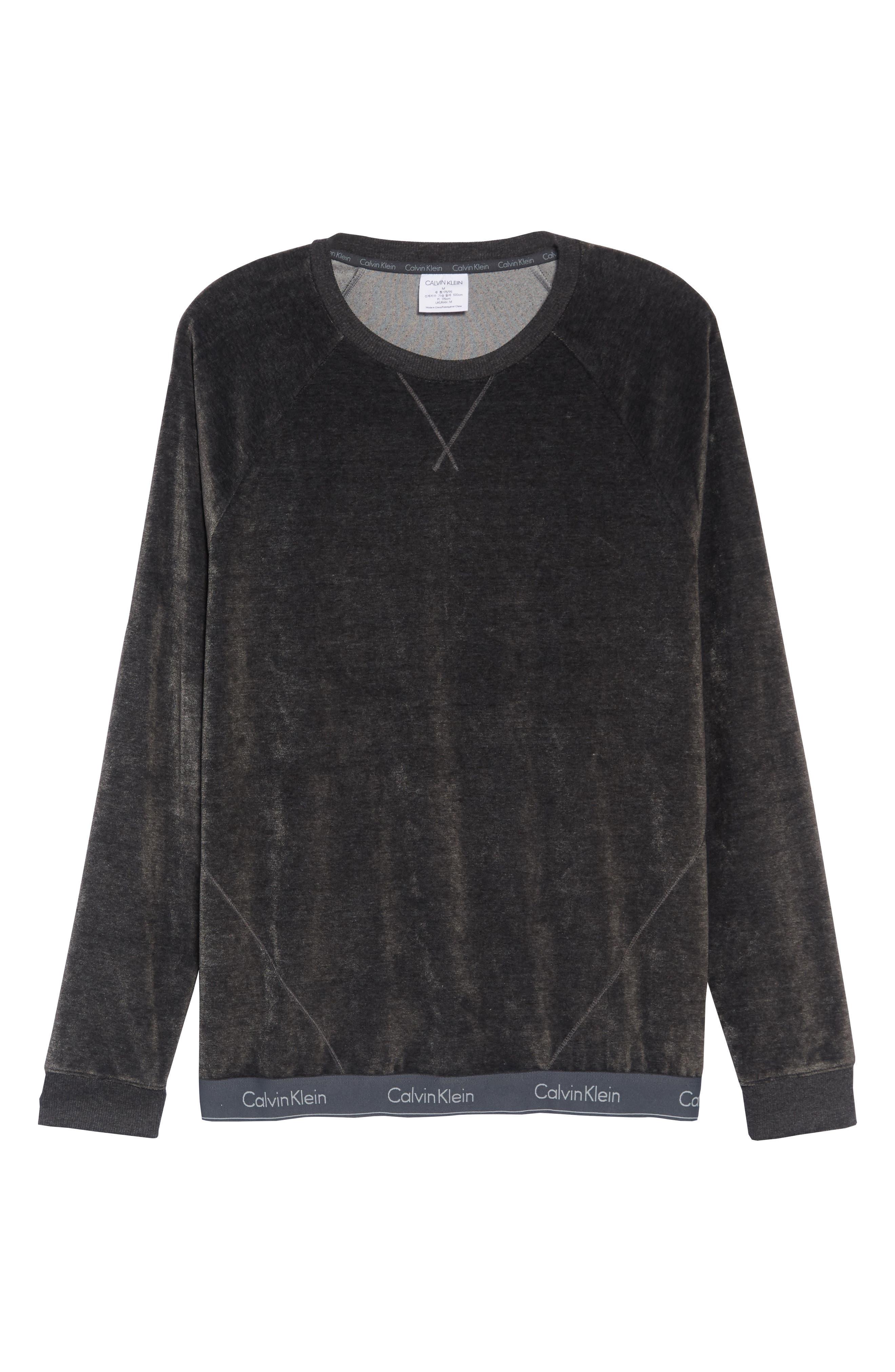 Crewneck Sweatshirt,                             Alternate thumbnail 6, color,                             WASHED BLACK