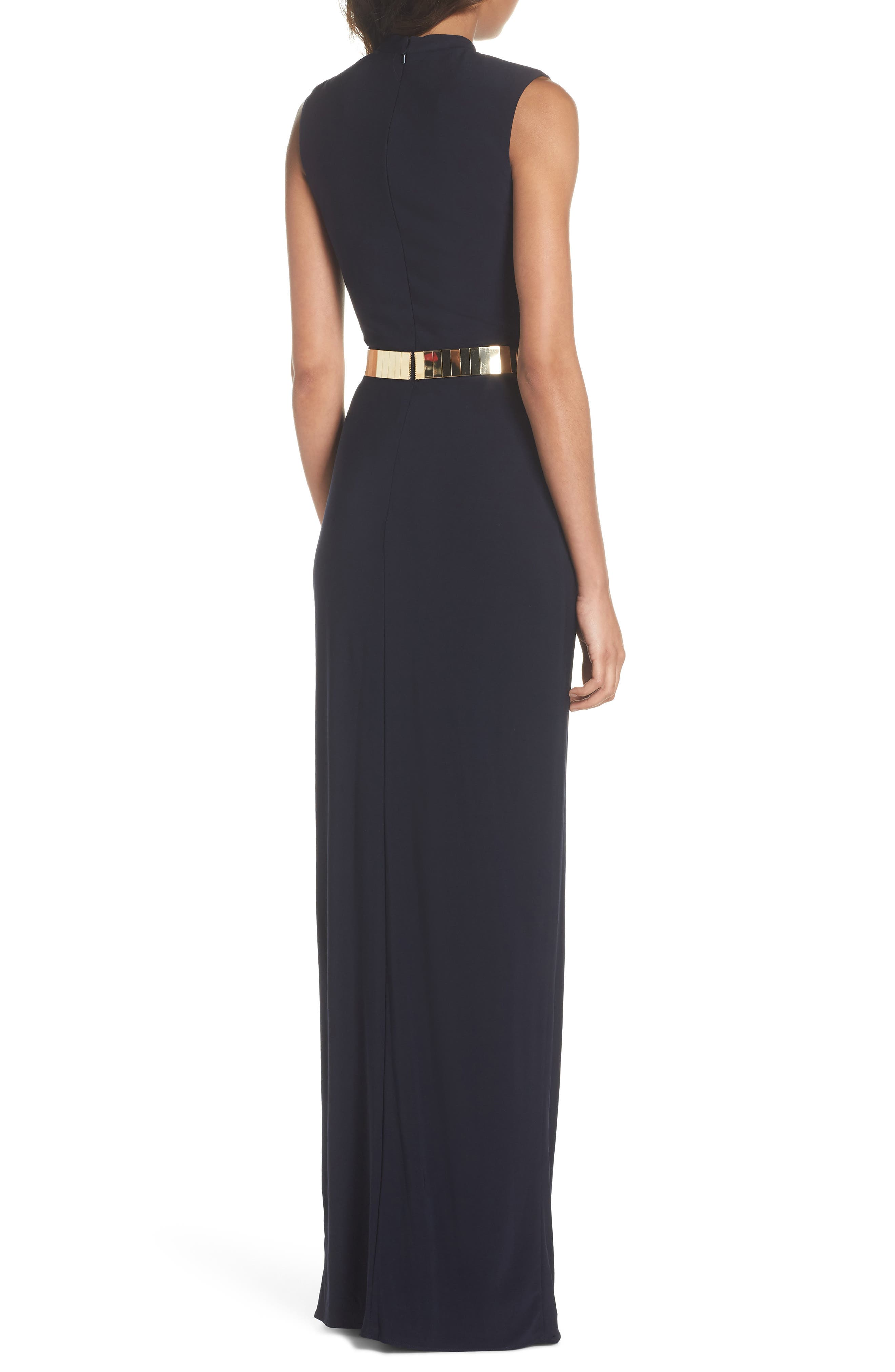 Belted Mock Neck Sheath Gown,                             Alternate thumbnail 2, color,                             MIDNIGHT