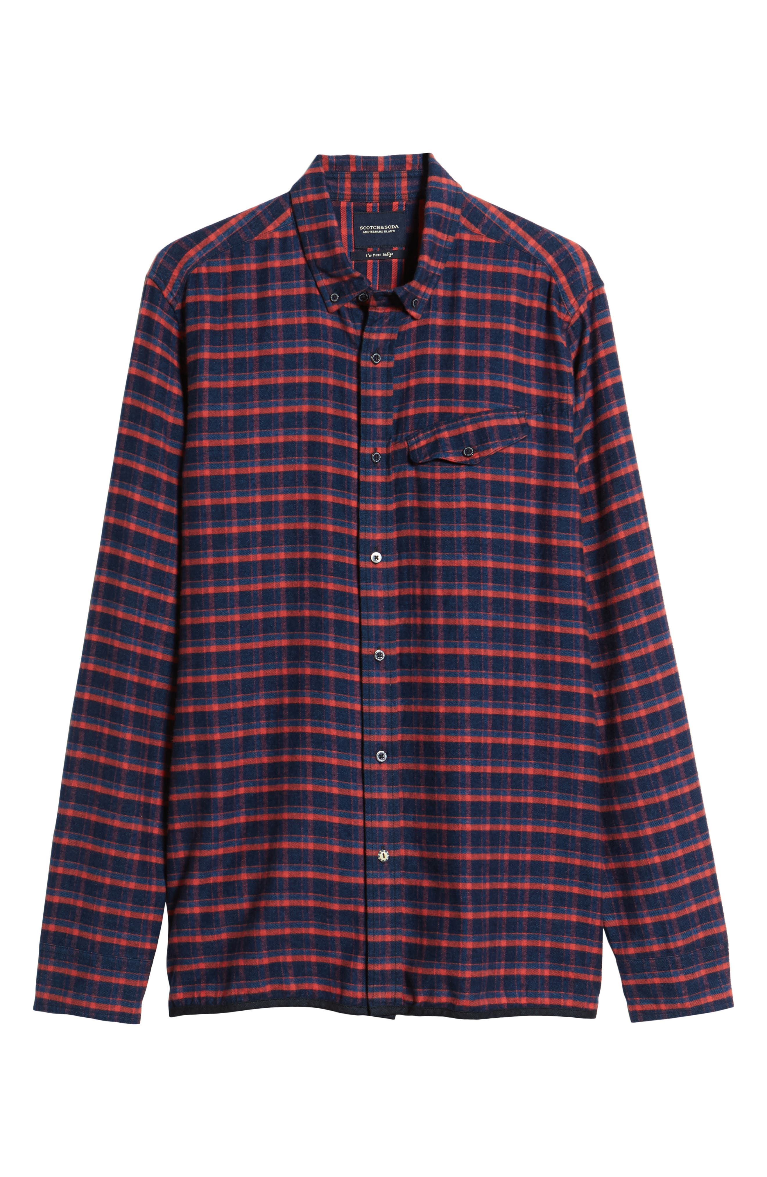 Amsterdams Blauw Check Flannel Sport Shirt,                             Alternate thumbnail 6, color,                             411