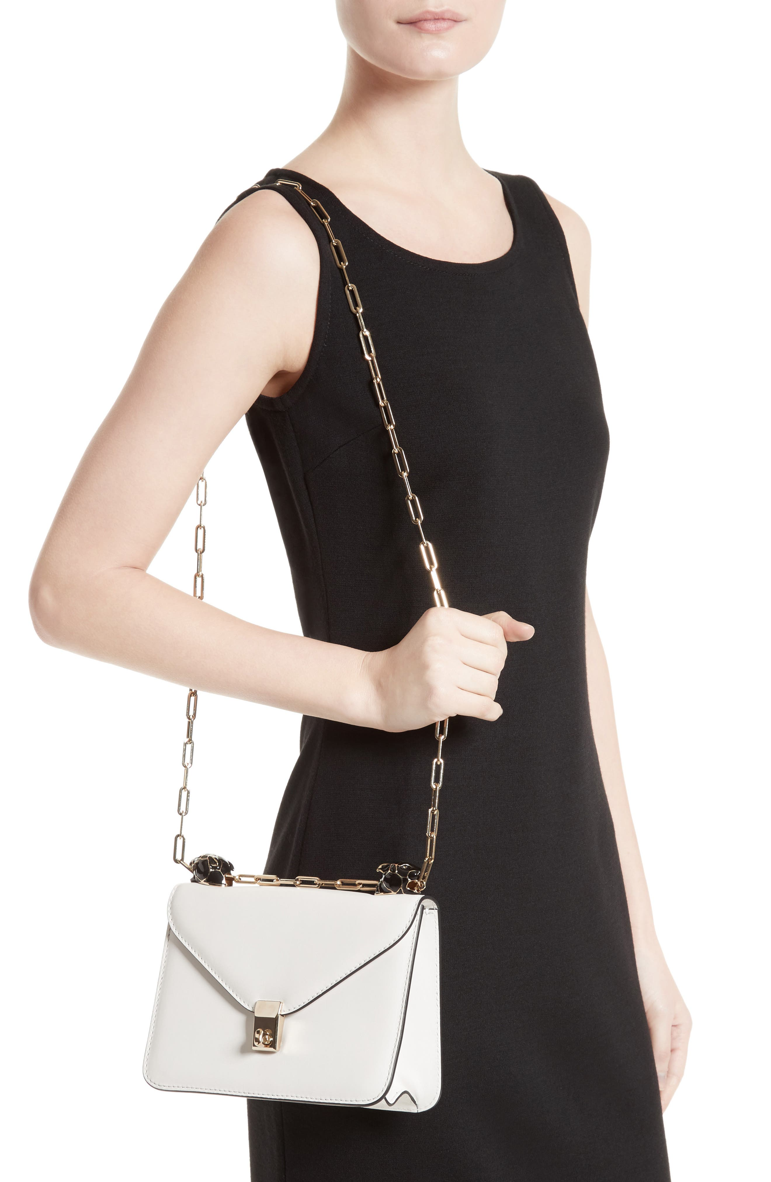 Small Panther Leather Shoulder Bag,                             Alternate thumbnail 2, color,                             100