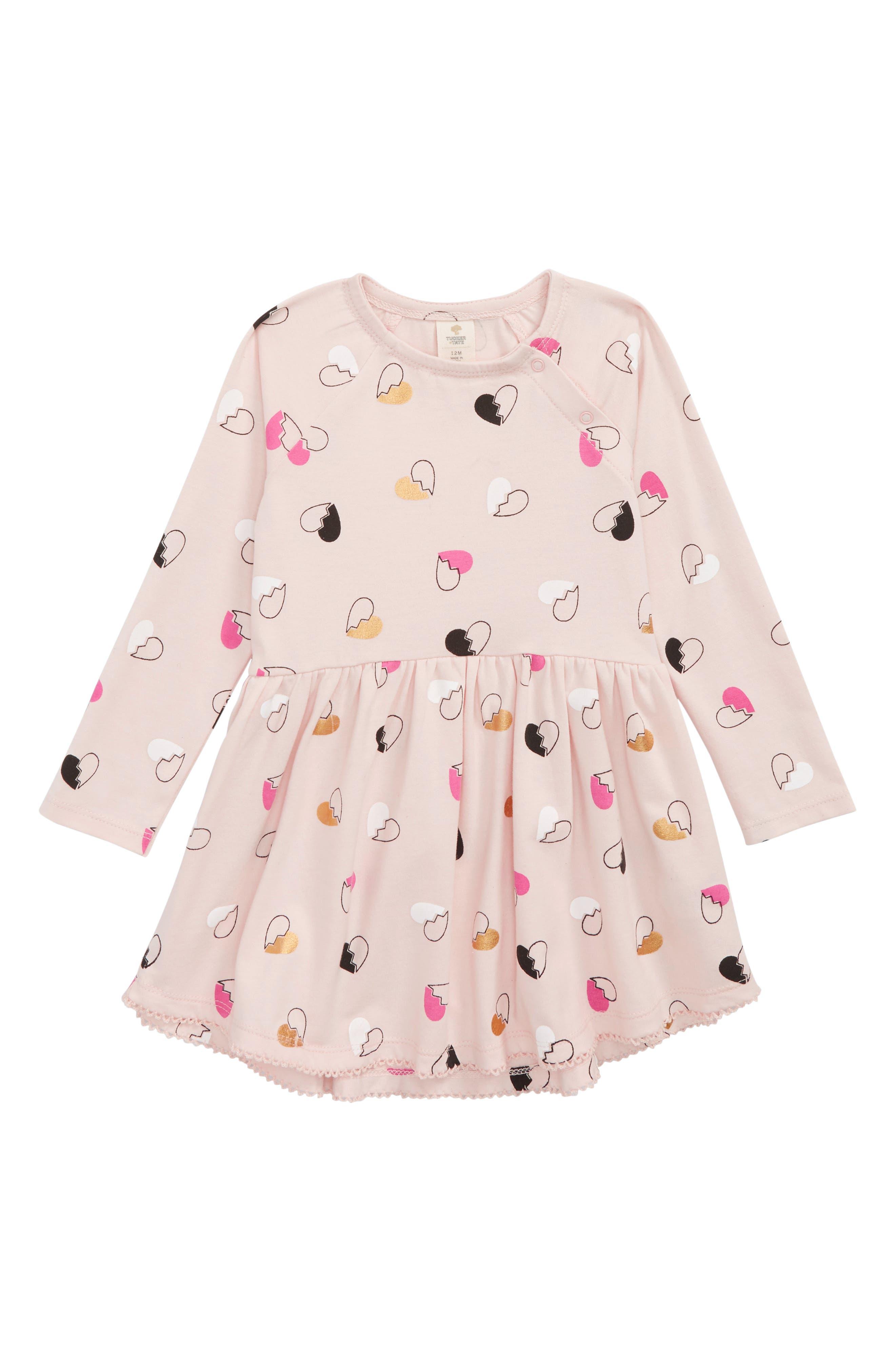 Print Knit Easy Dress,                             Main thumbnail 1, color,                             PINK PEACHSKIN SPLIT HEARTS