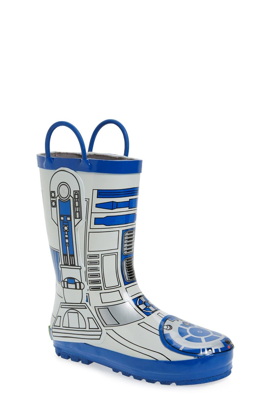'Star Wars<sup>™</sup> - R2-D2' Waterproof Rain Boot,                             Main thumbnail 1, color,                             100