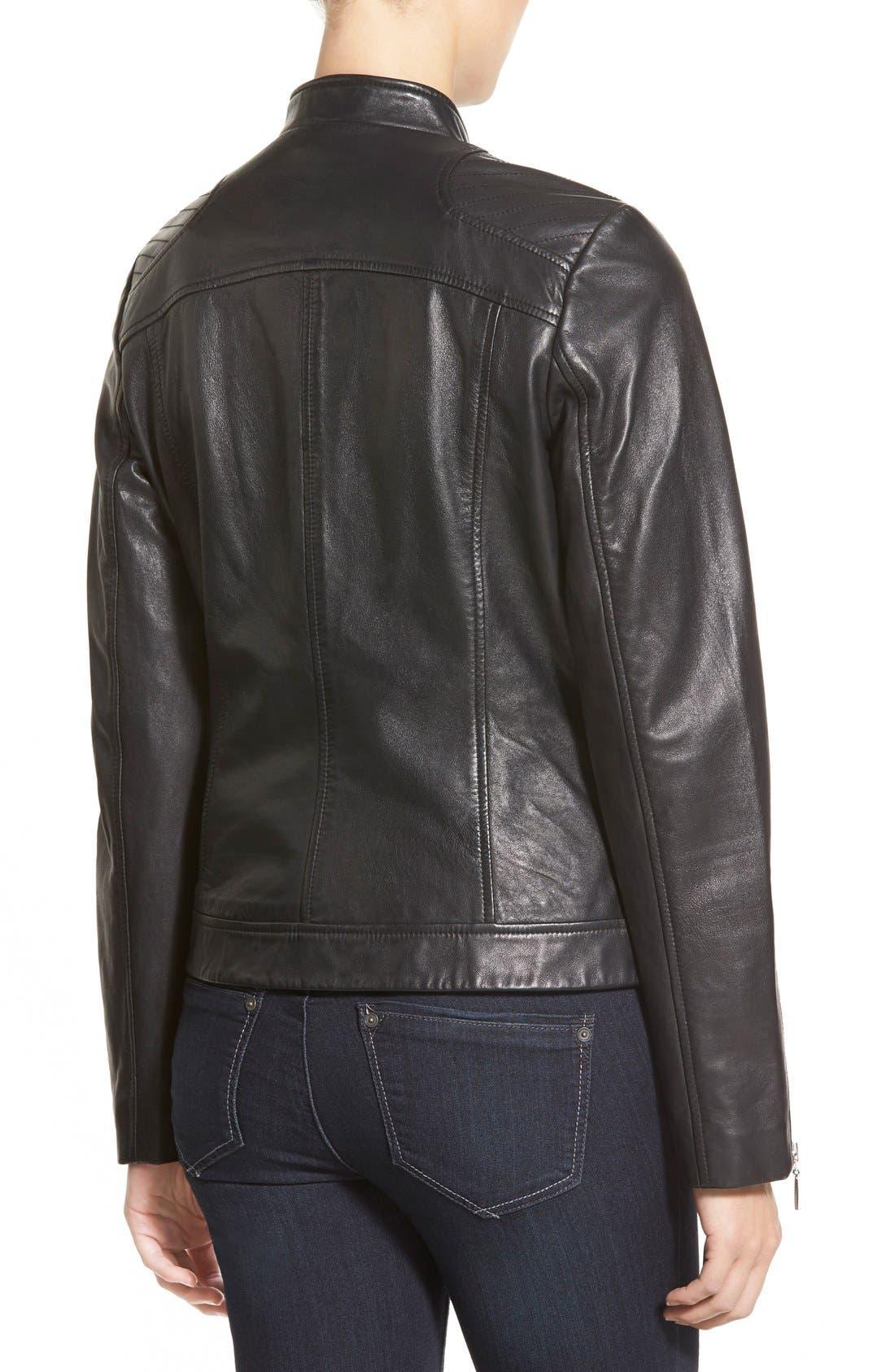 Zip Front Leather Jacket,                             Alternate thumbnail 5, color,