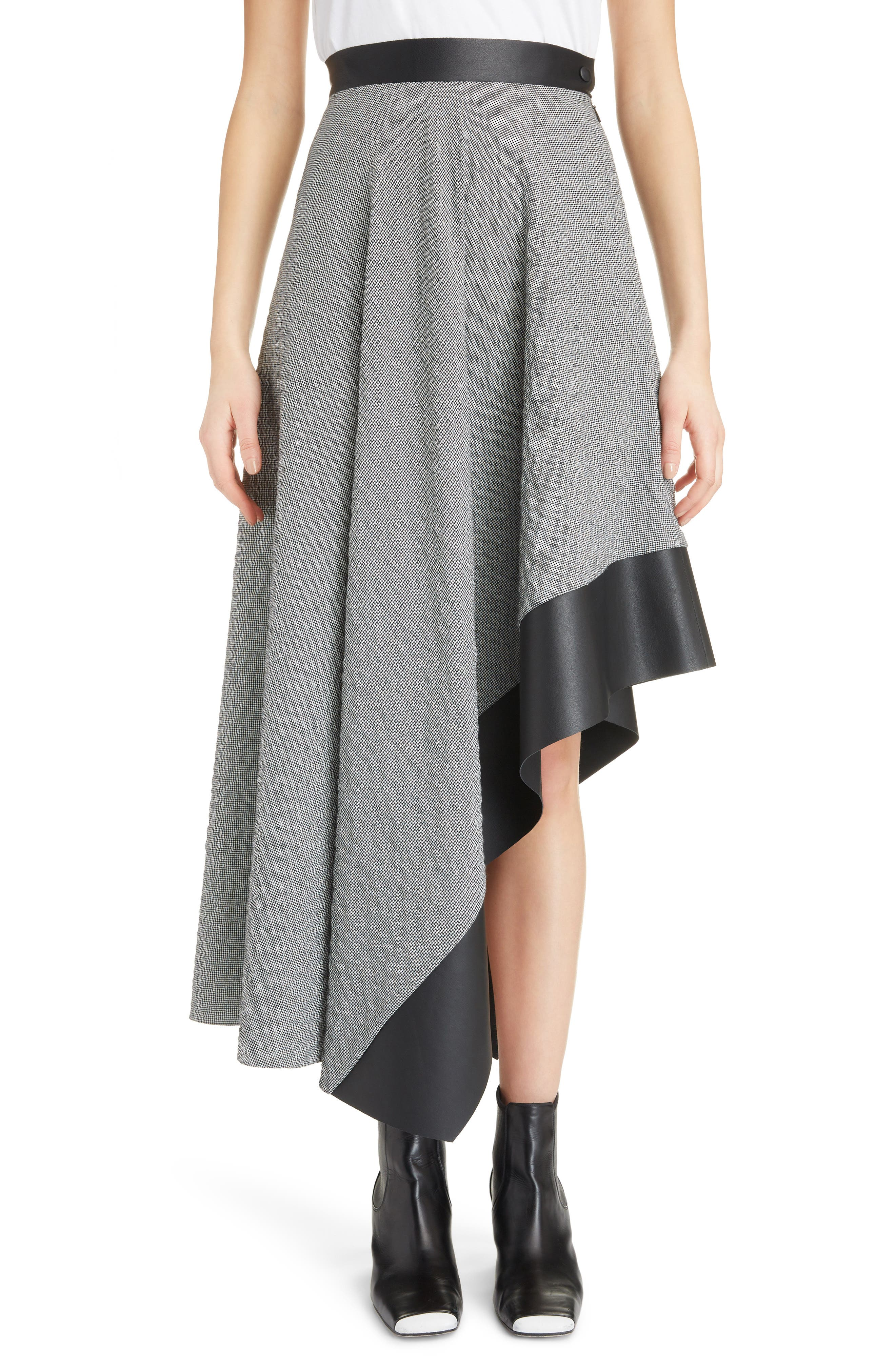Leather Trim Asymmetrical Skirt,                             Main thumbnail 1, color,                             002