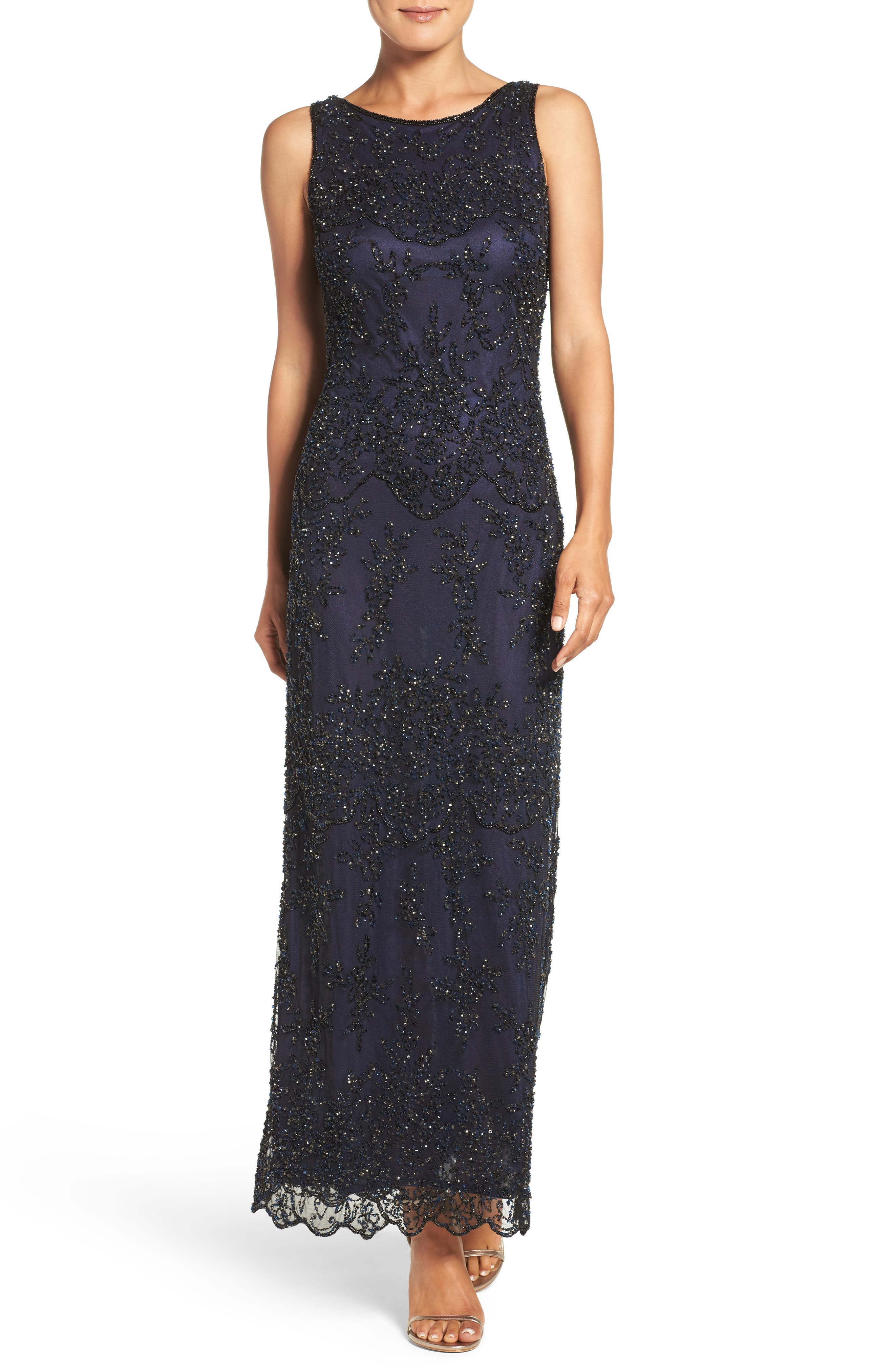 Petite Pisarro Nights Embellished Mesh Gown, Blue