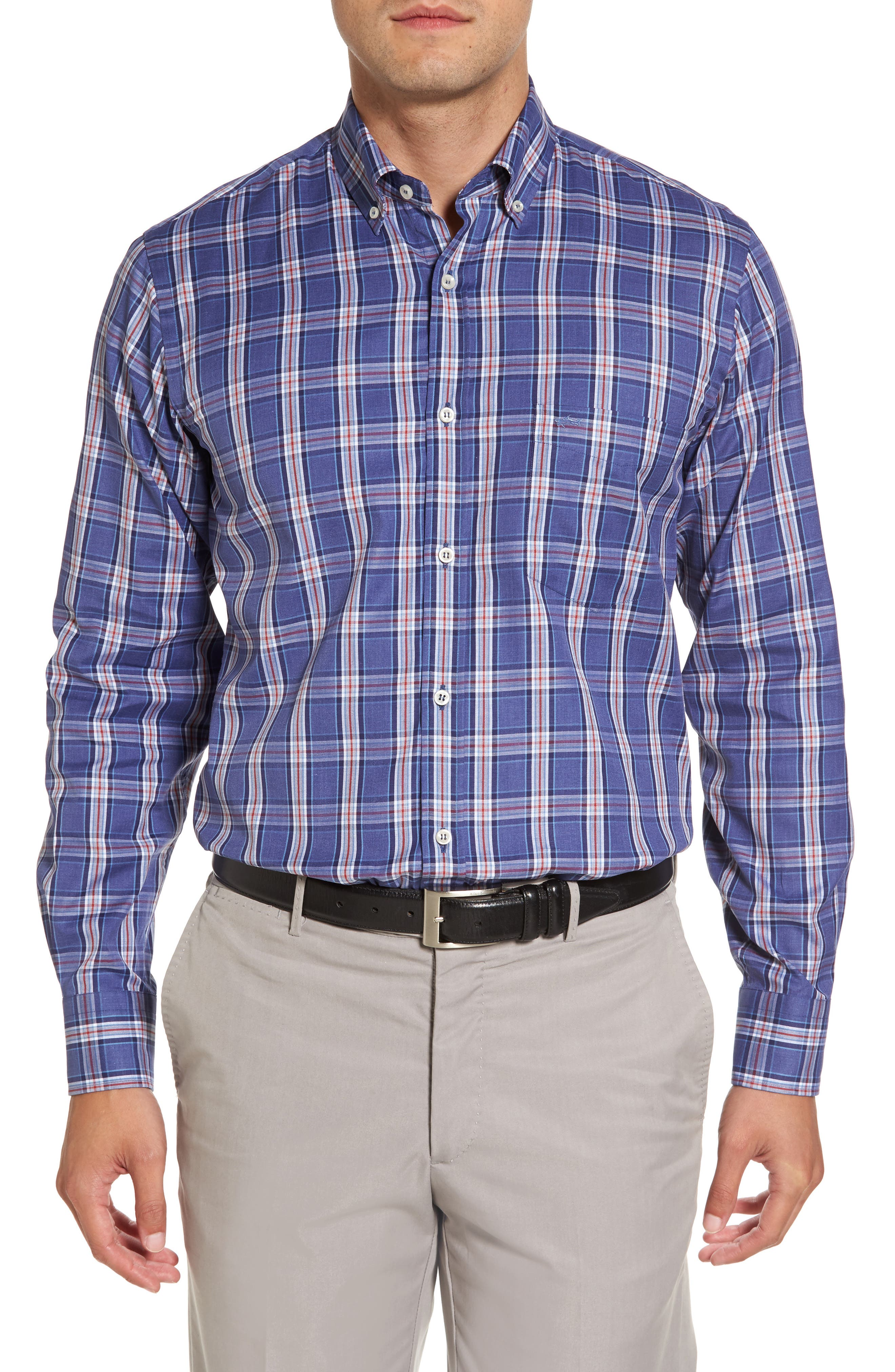 Paul&Shark Plaid Sport Shirt,                             Main thumbnail 1, color,                             400
