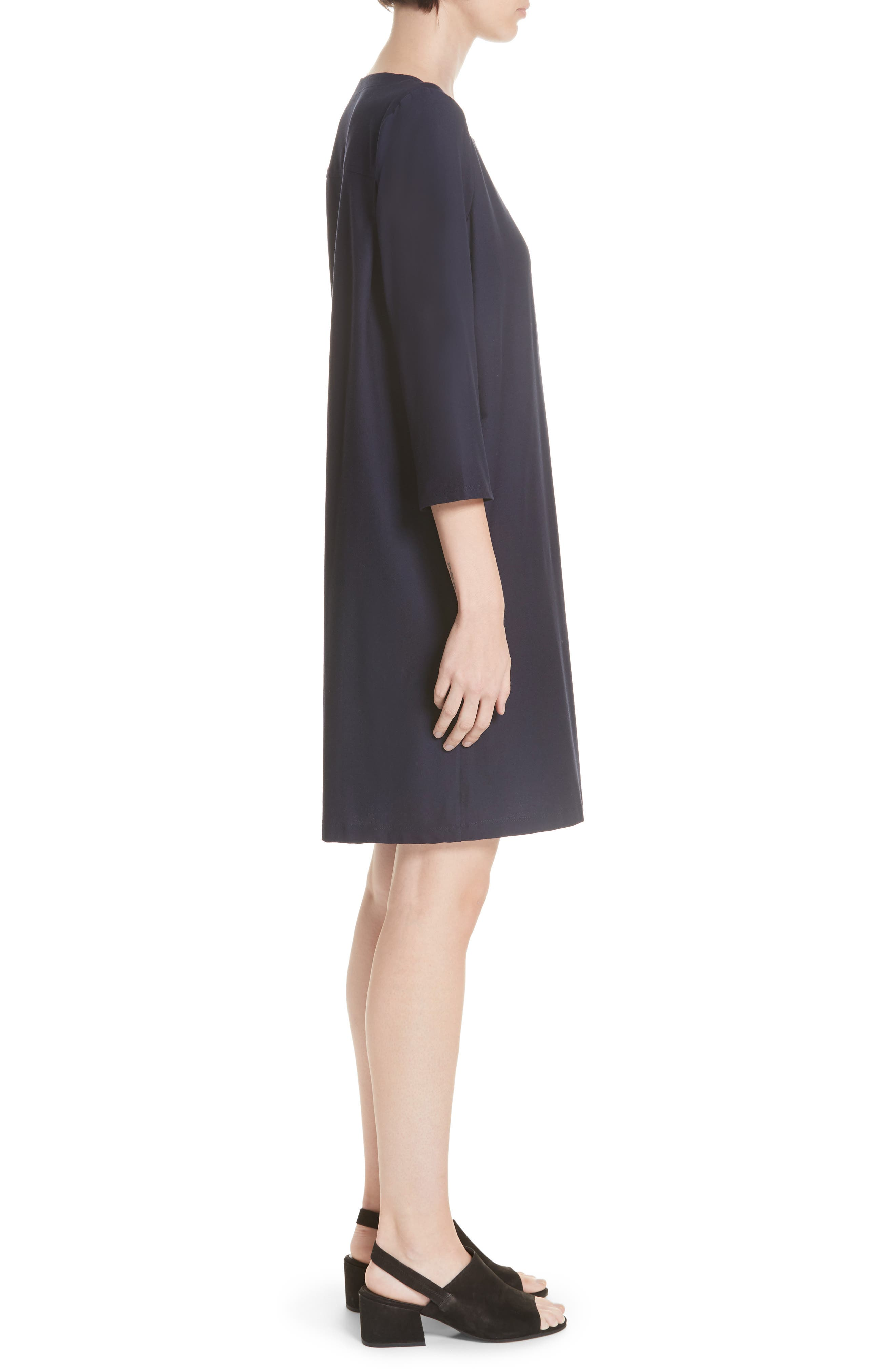 Scoop Neck Knee Length Shift Dress,                             Alternate thumbnail 3, color,                             MIDNIGHT