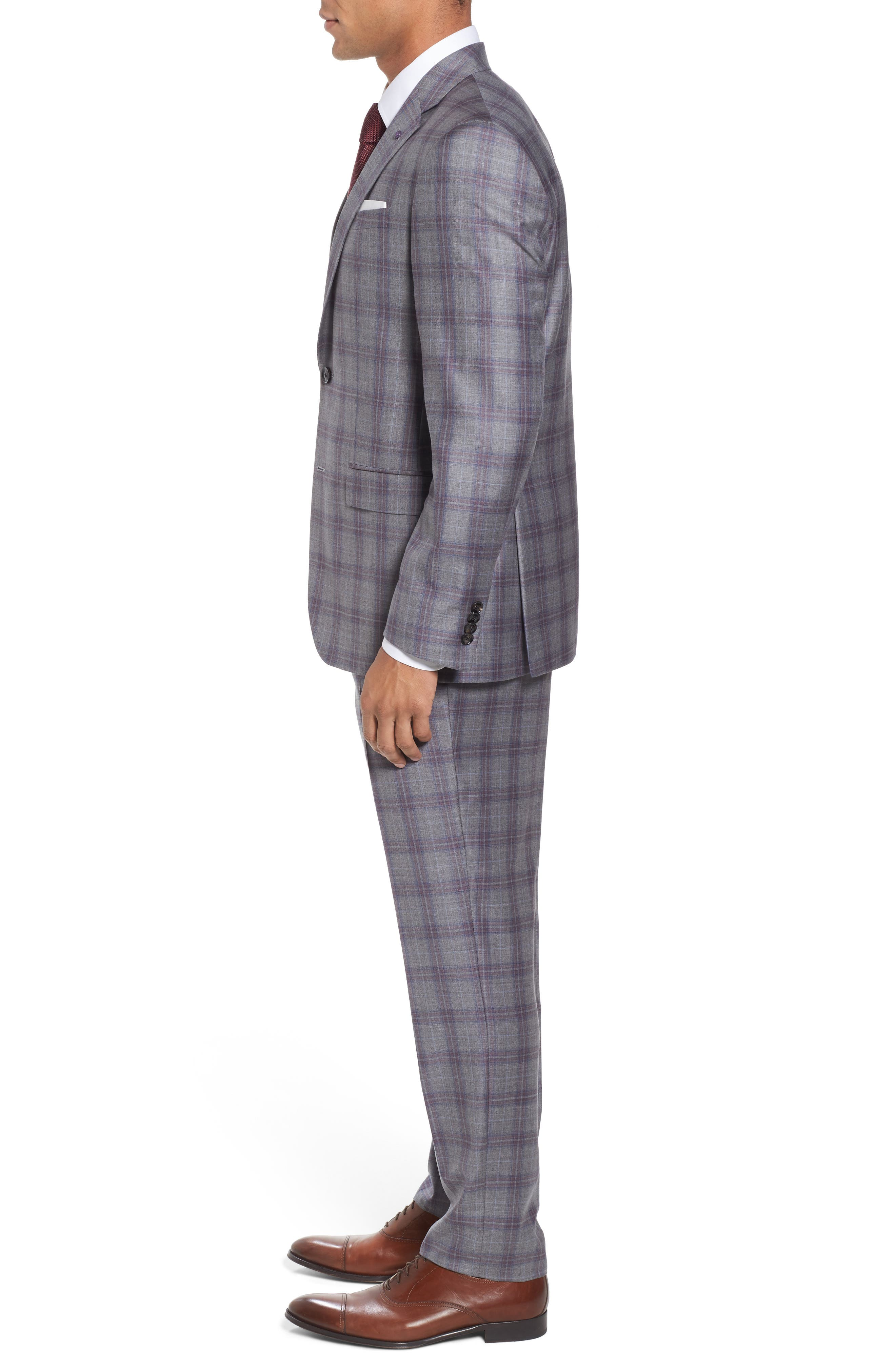 Jay Trim Fit Plaid Wool Suit,                             Alternate thumbnail 3, color,                             020