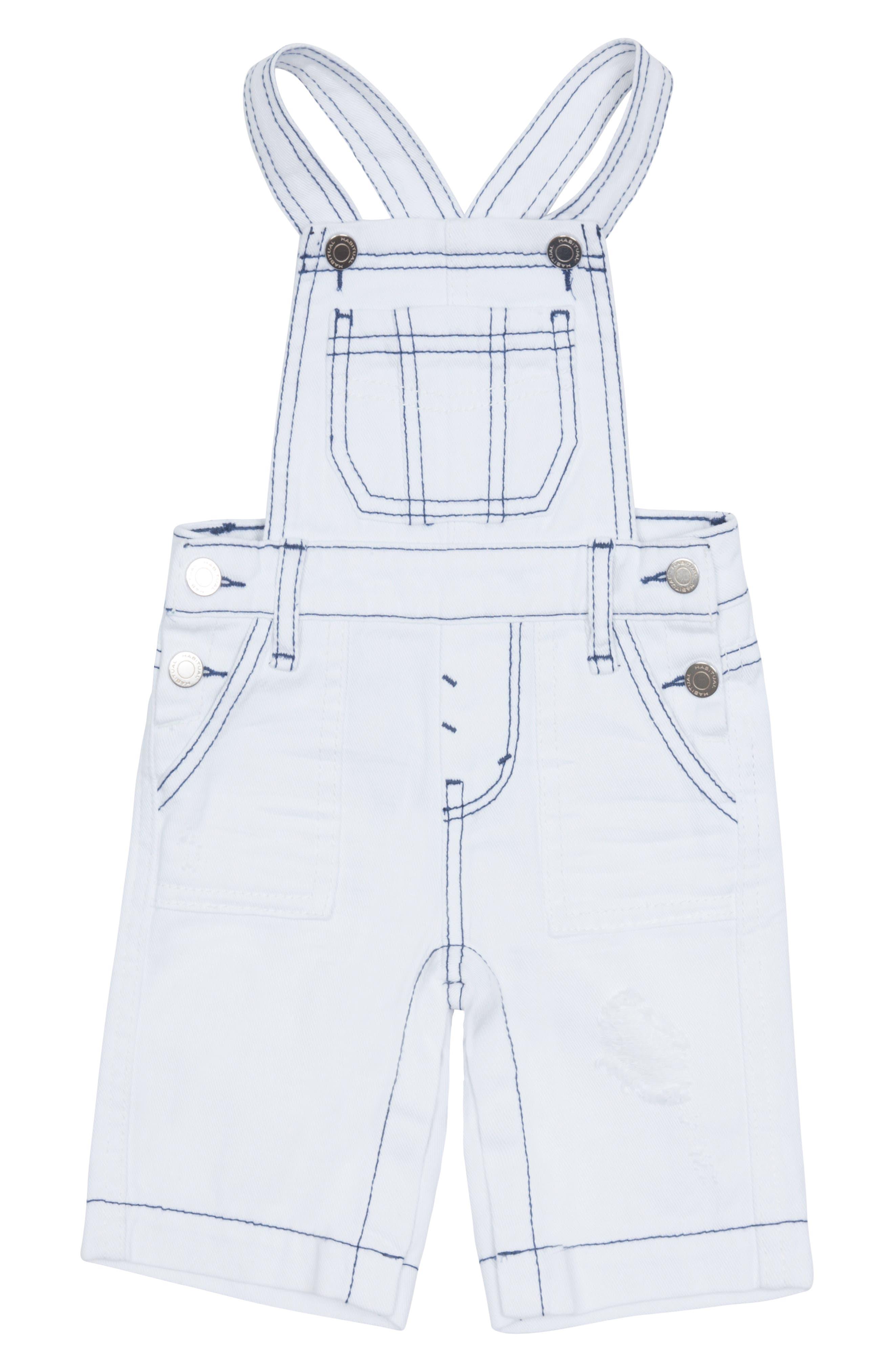 Toddler Girls Habitual Girl Vivien Wide Leg Overalls Size 3T  White