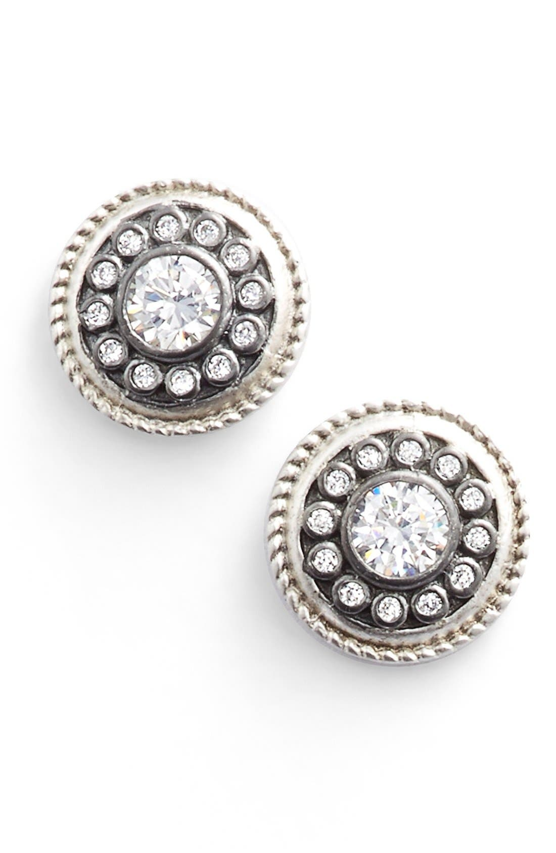'Nautical Button' Stud Earrings,                             Main thumbnail 1, color,                             SILVER/ GUNMETAL/ CLEAR
