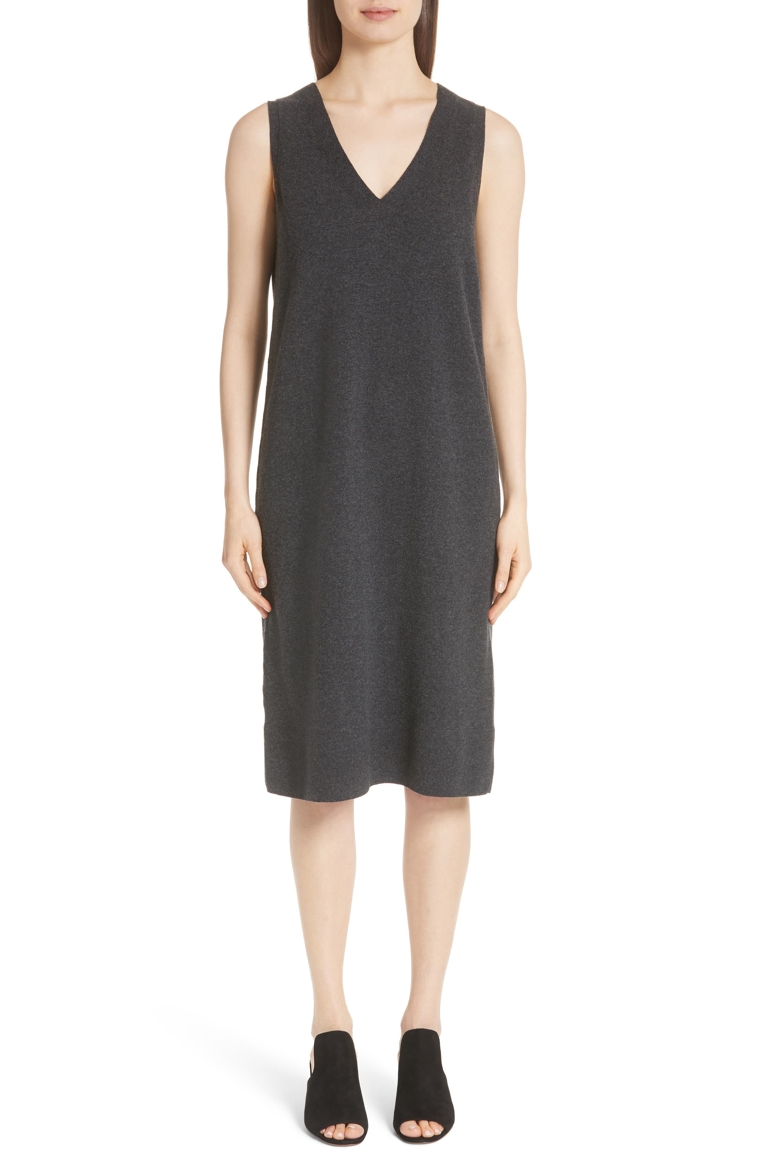 Lafayette 148 New York Merino & Cashmere Sweater Dress, Grey
