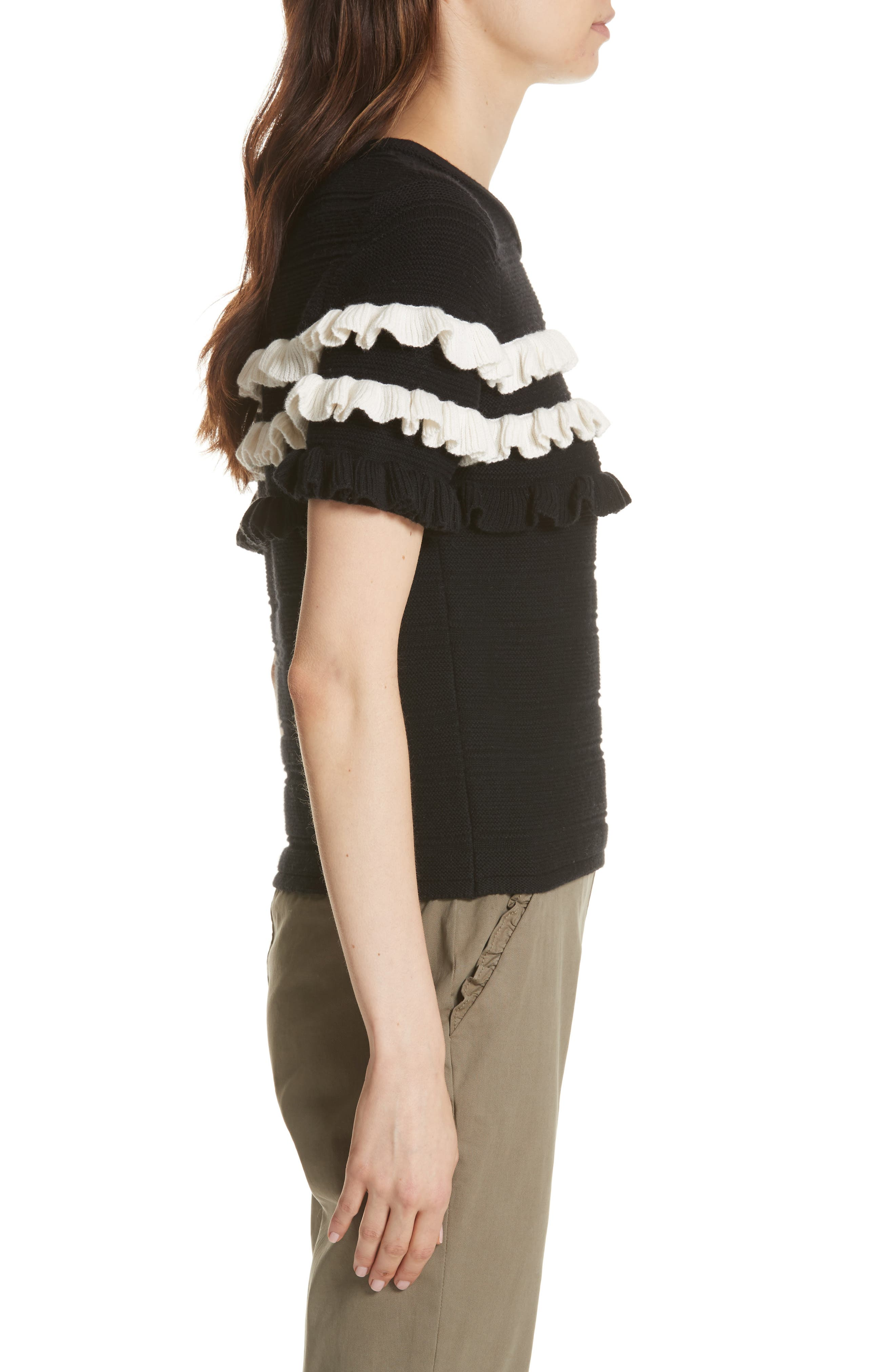ruffled cotton & cashmere sweater,                             Alternate thumbnail 5, color,
