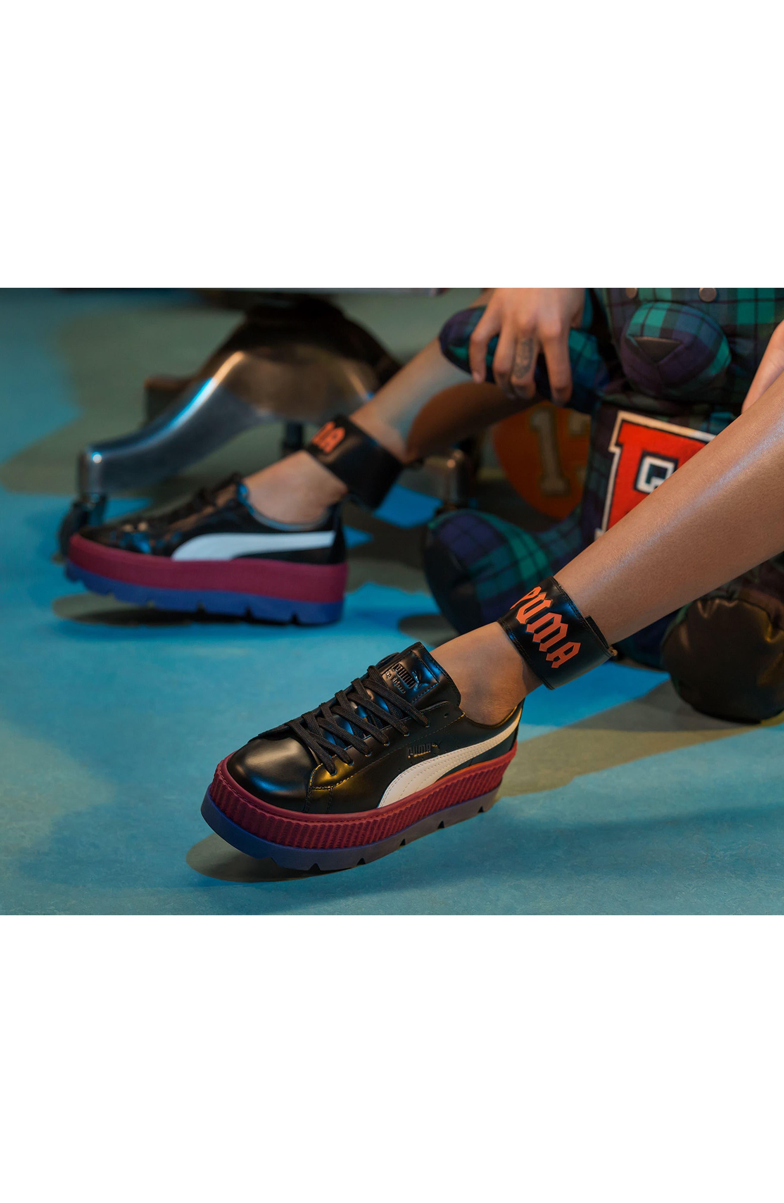 FENTY PUMA by Rihanna Ankle Strap Creeper Sneaker,                             Alternate thumbnail 9, color,                             001