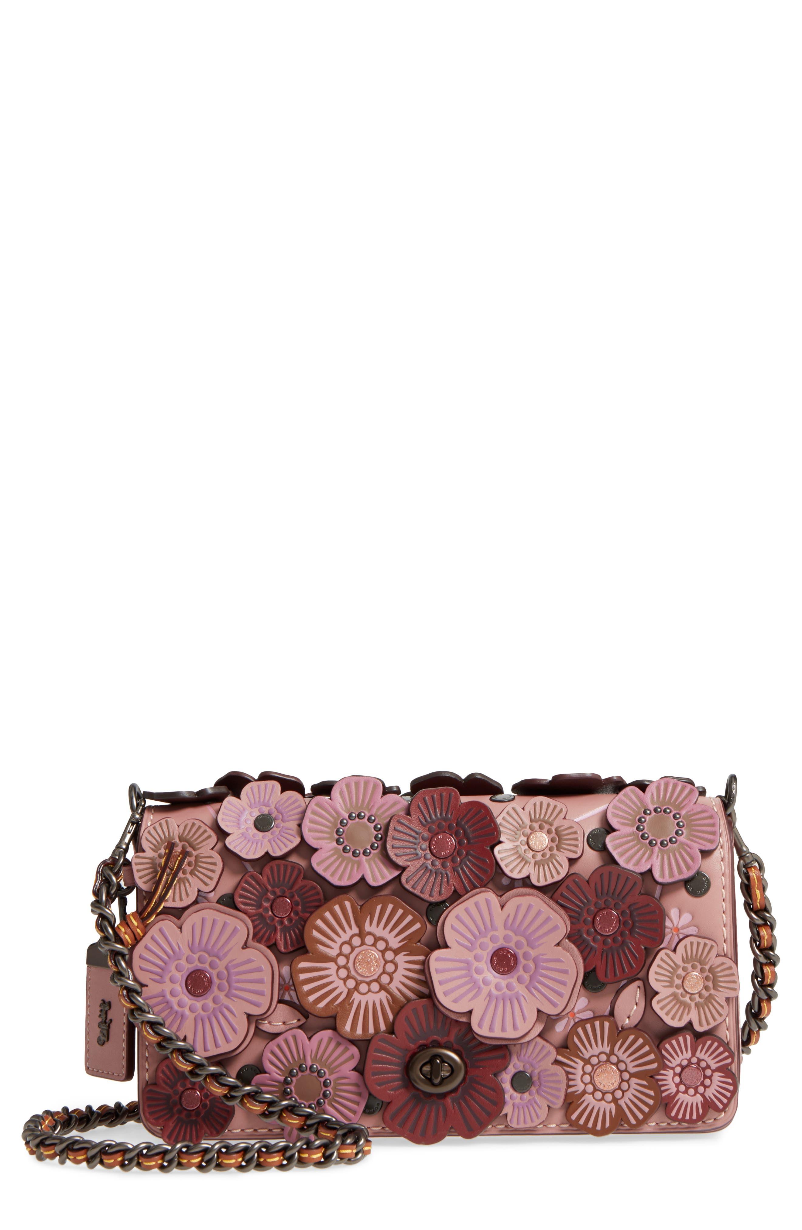 'Dinky' Flower Appliqué Leather Crossbody Bag,                             Main thumbnail 5, color,