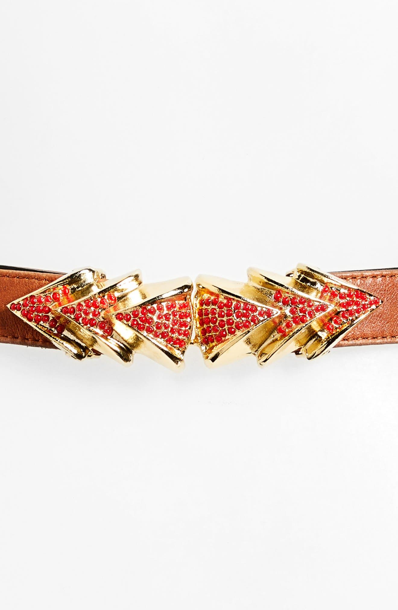 Venice Leather Belt,                             Alternate thumbnail 3, color,                             BROWN