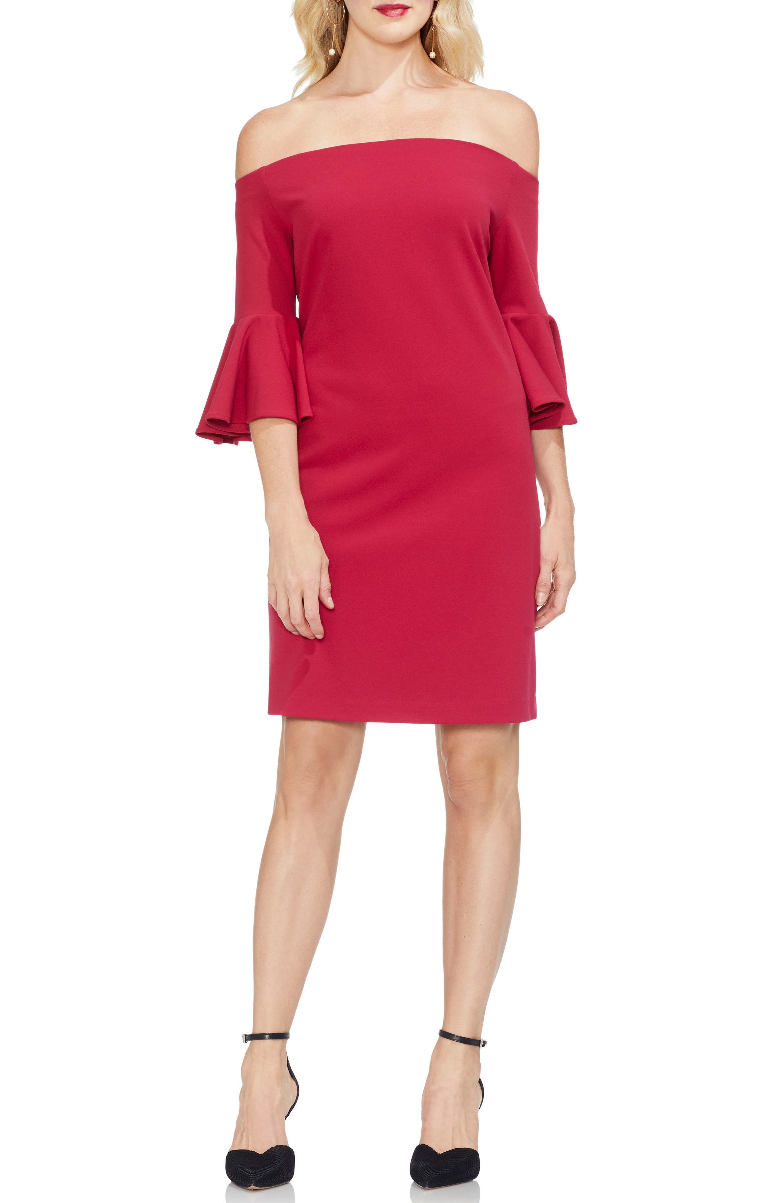 Vince Camuto Off The Shoulder Bell Sleeve Ponte Dress, Red