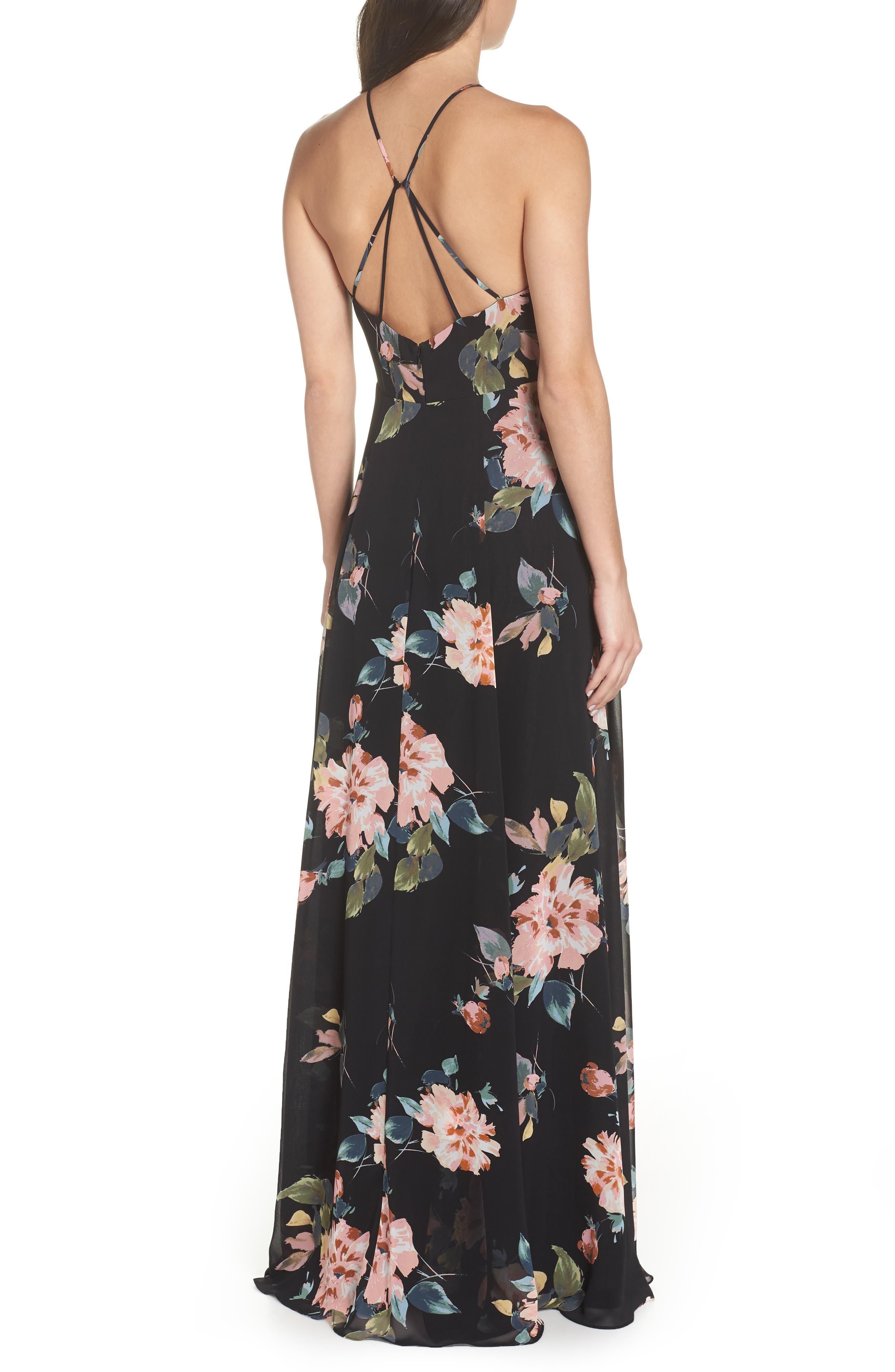 Collection Kayla Ohana Print Gown,                             Alternate thumbnail 2, color,                             BLACK MULTI