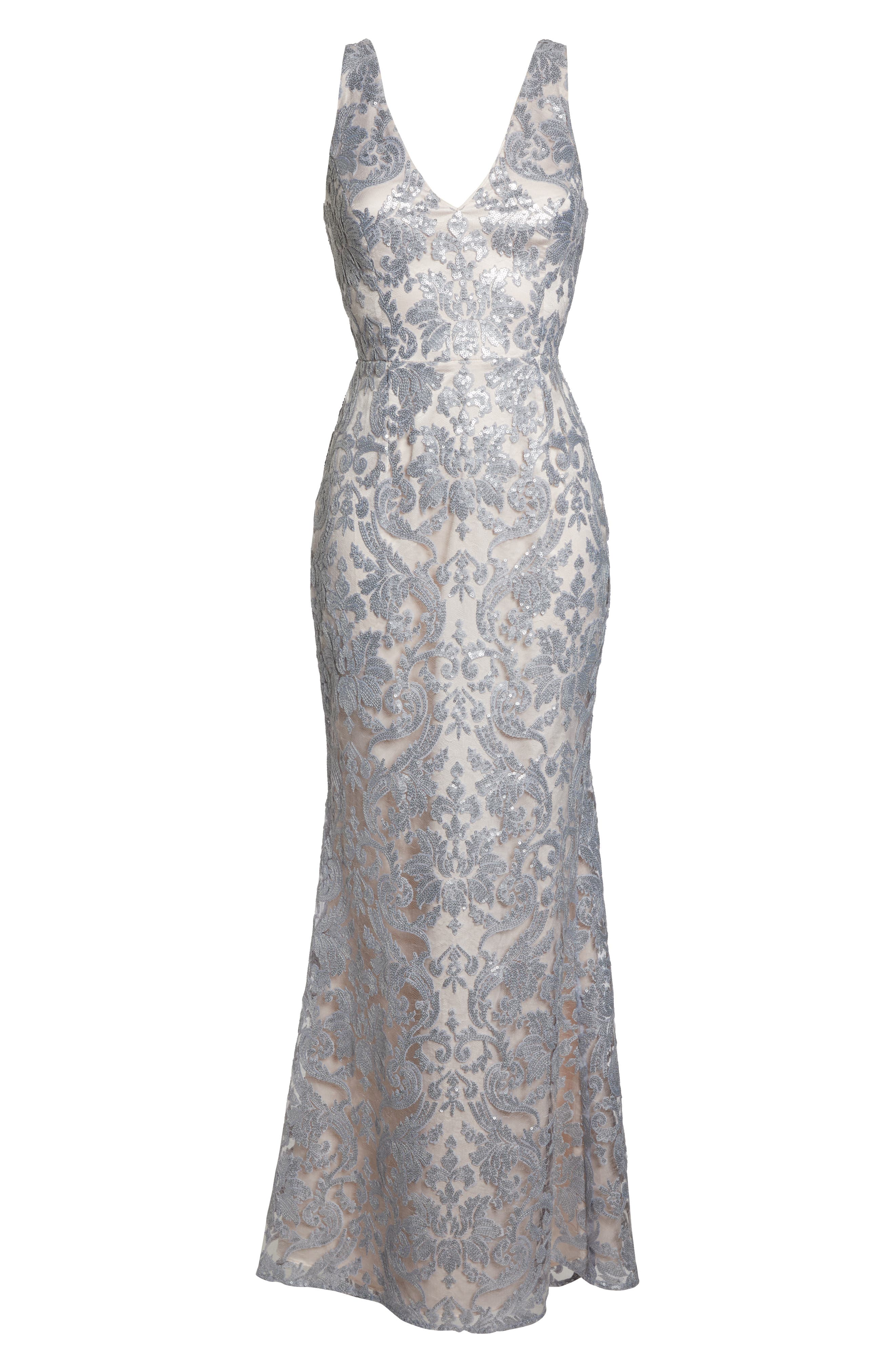 ELIZA J,                             Embroidered Evening Dress,                             Alternate thumbnail 7, color,                             SILVER