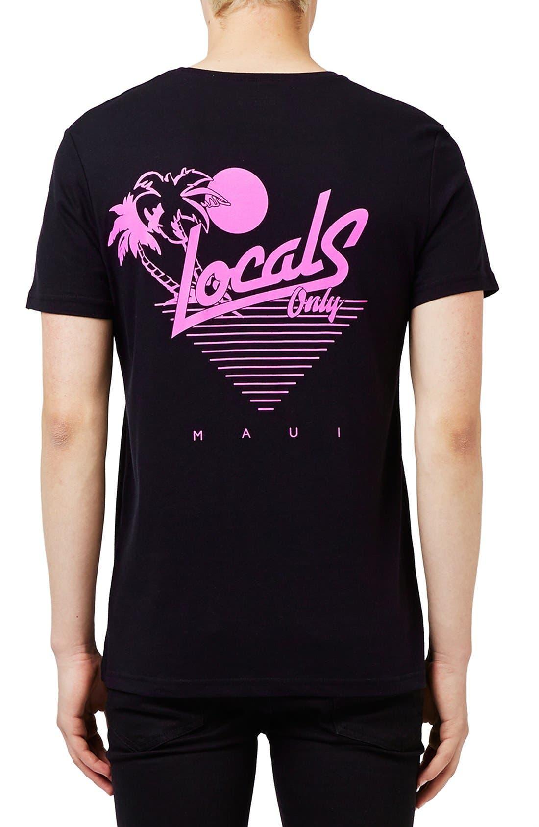 TOPMAN,                             'Locals Only' Graphic Crewneck T-Shirt,                             Alternate thumbnail 3, color,                             001