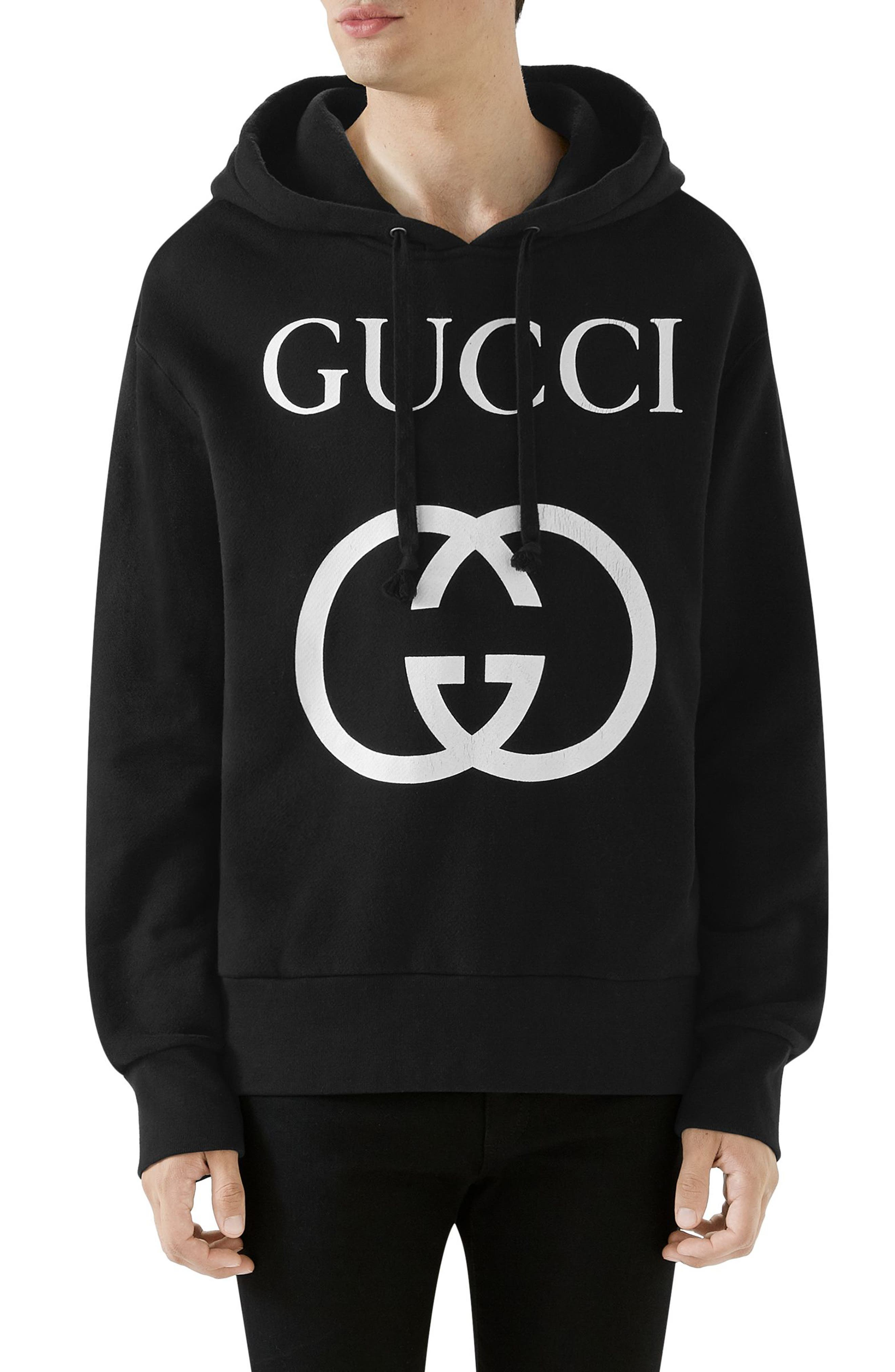 New Logo Cotton Hoodie,                         Main,                         color, BLACK IVORY