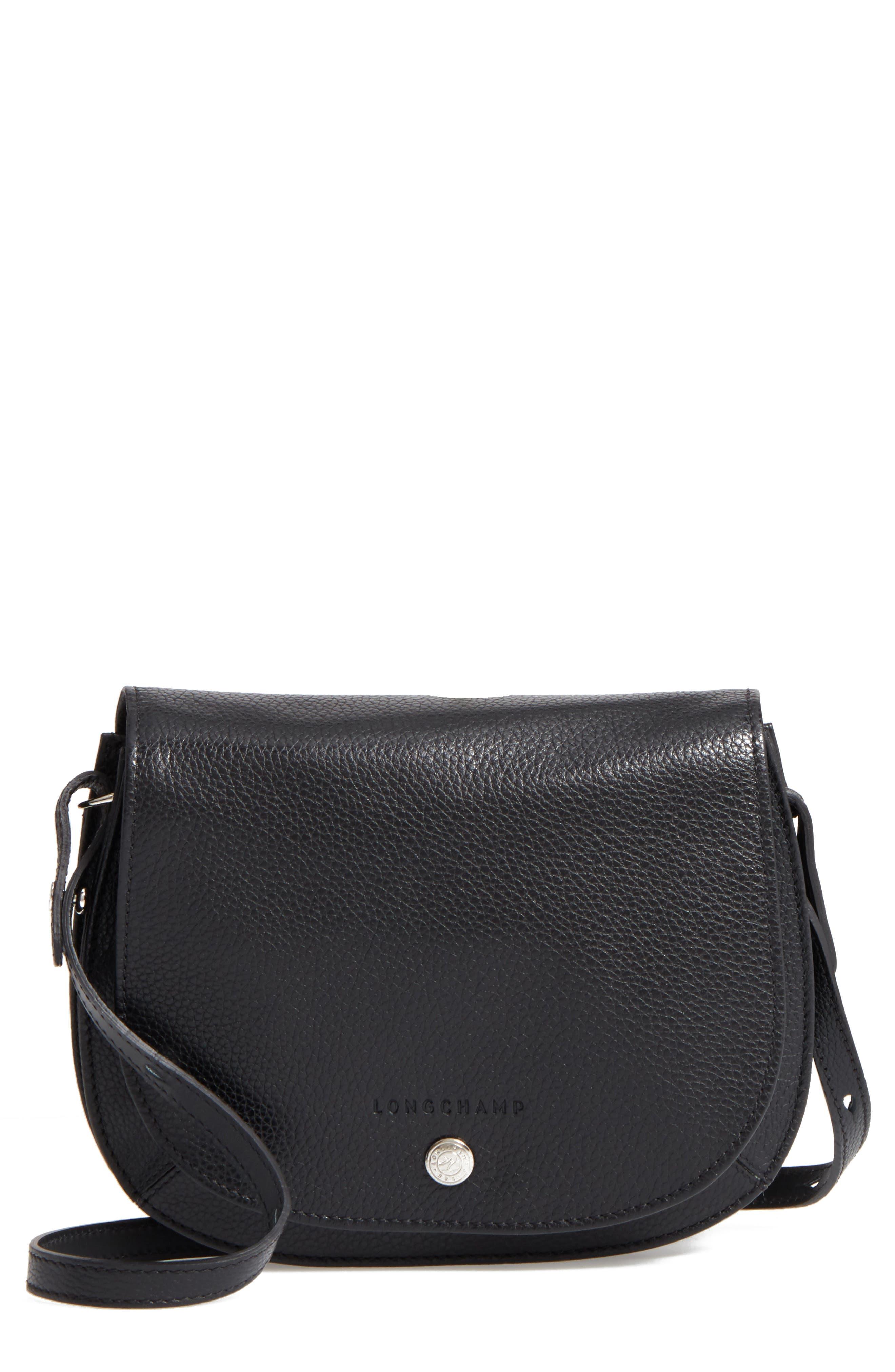Small Le Foulonne Leather Crossbody Bag,                         Main,                         color, BLACK