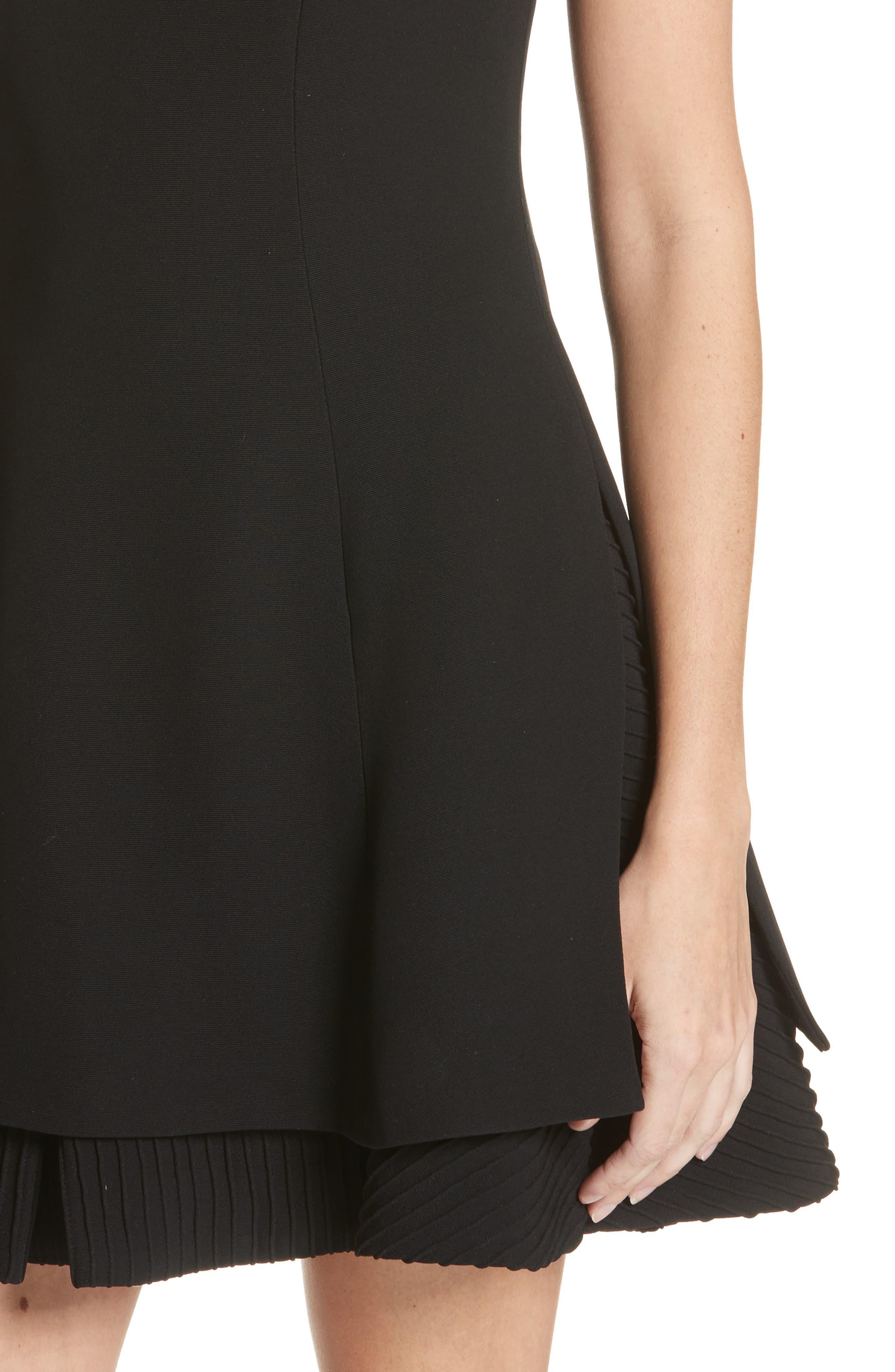 Pleated Hem Fit & Flare Dress,                             Alternate thumbnail 4, color,                             001
