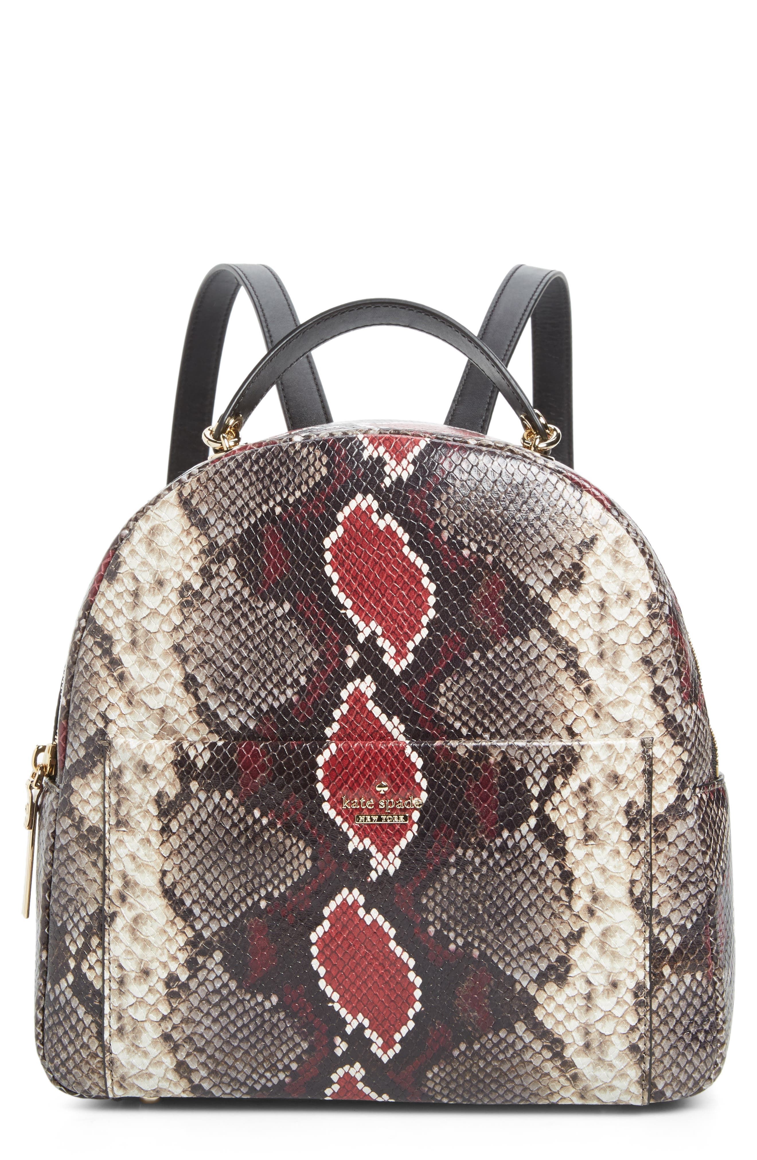 reese park - ethel snake embossed leather backpack, Main, color, 200