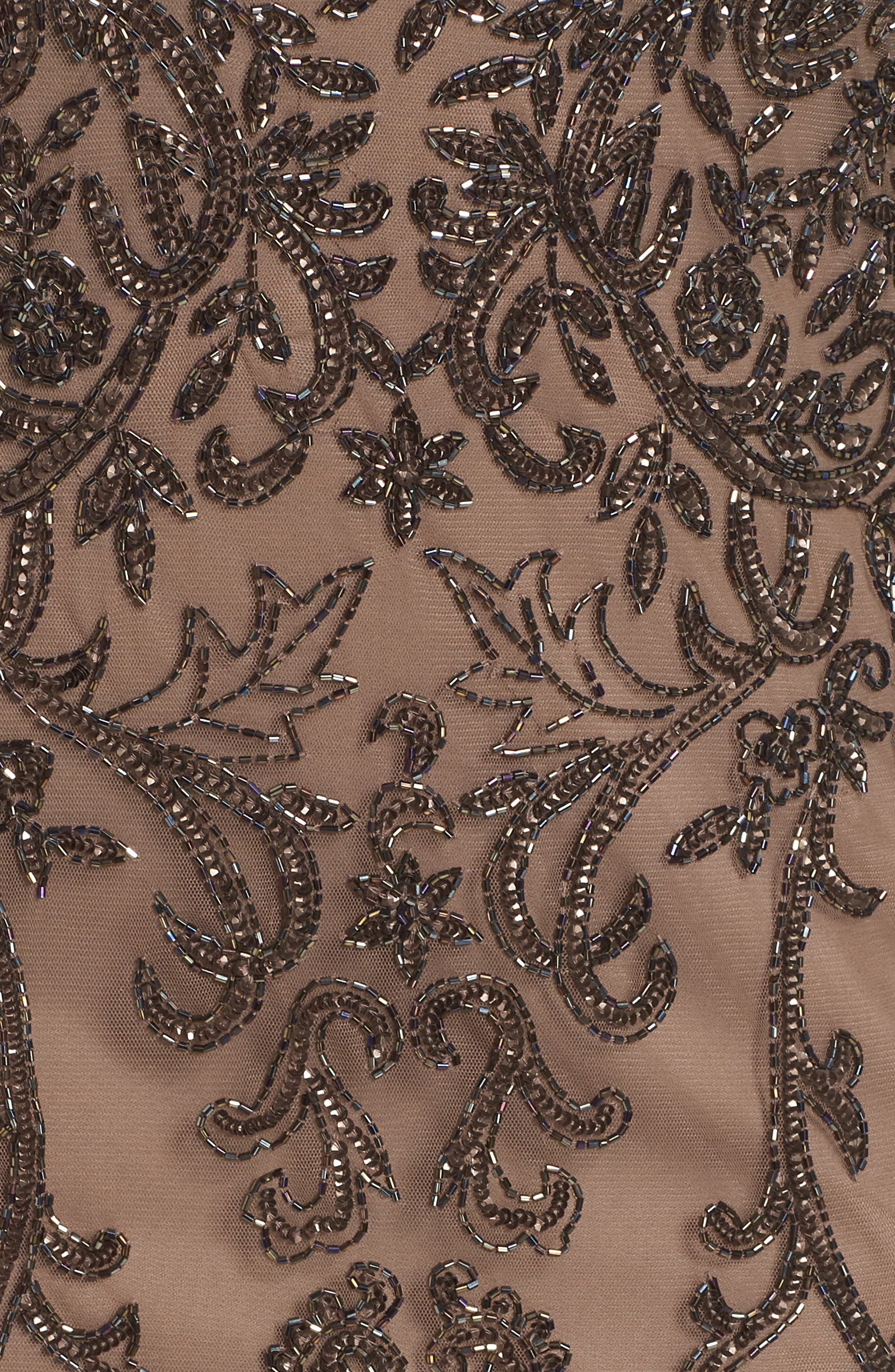 Illusion Sleeve Beaded Sheath Dress,                             Alternate thumbnail 6, color,                             BROWN/ GOLD
