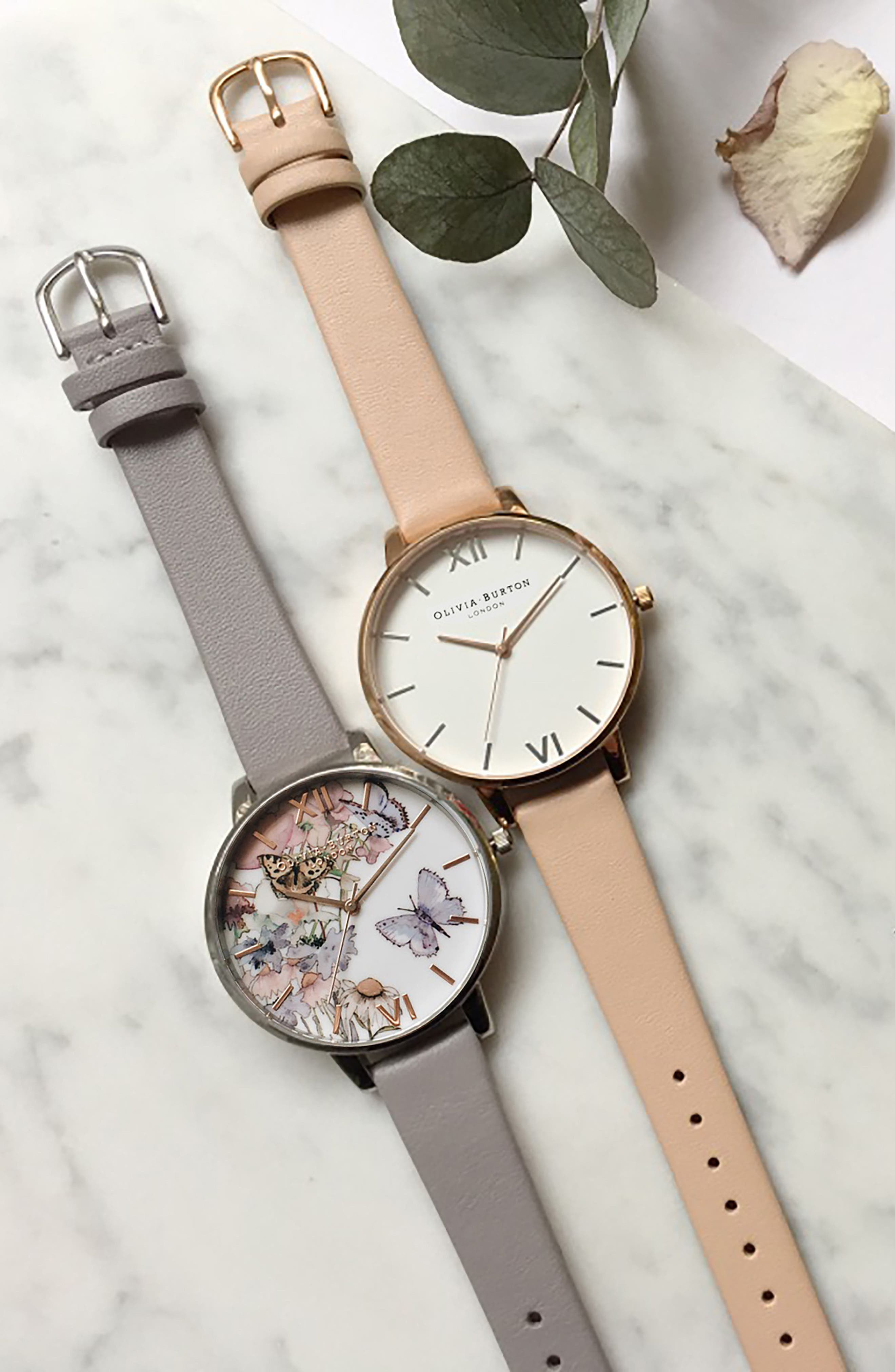 Big Dial Leather Strap Watch, 38mm,                             Alternate thumbnail 7, color,                             PEACH/ WHITE/ ROSE/ SILVER