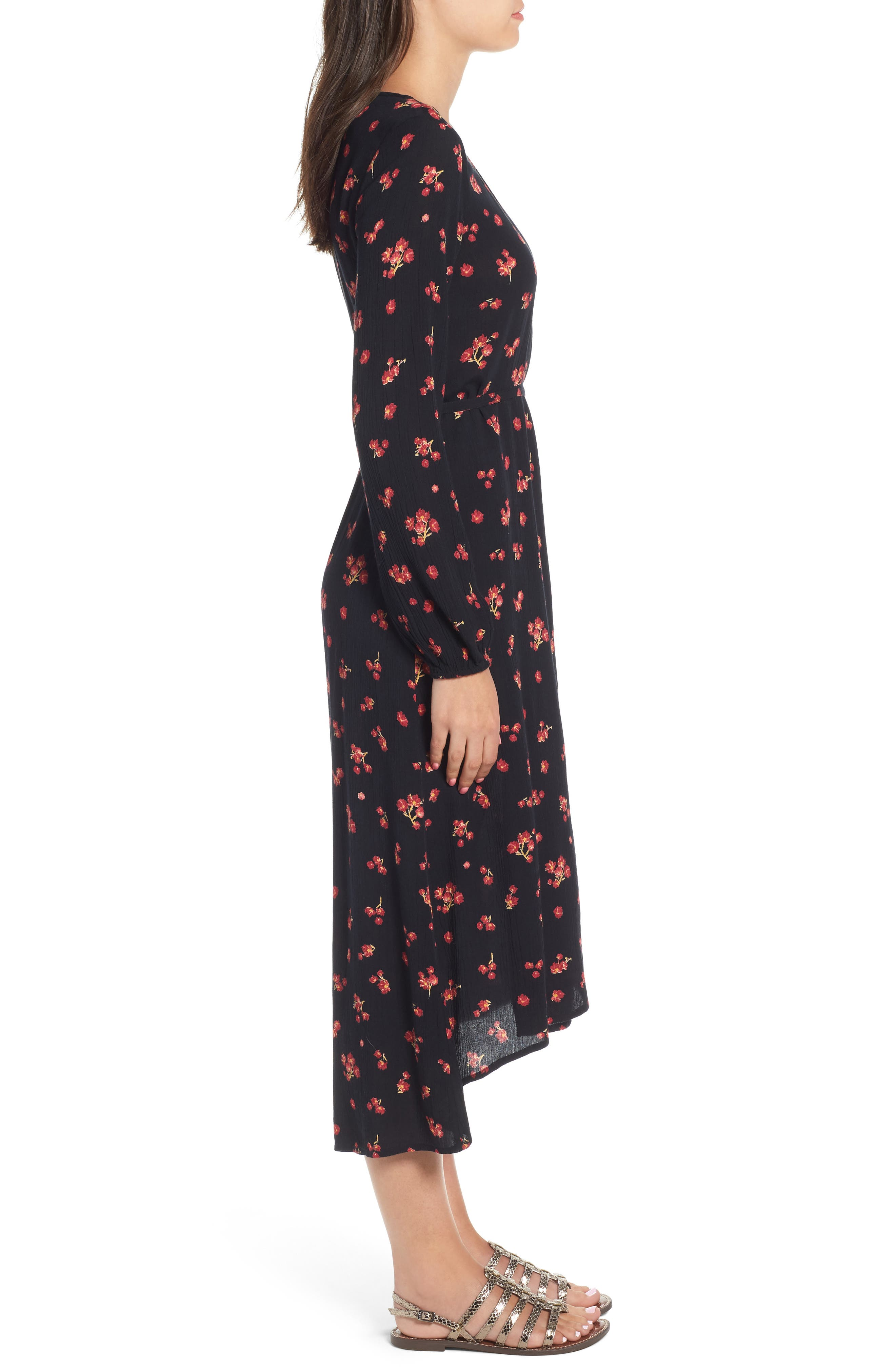 Forever Wild Floral Print Wrap Dress,                             Alternate thumbnail 3, color,                             001