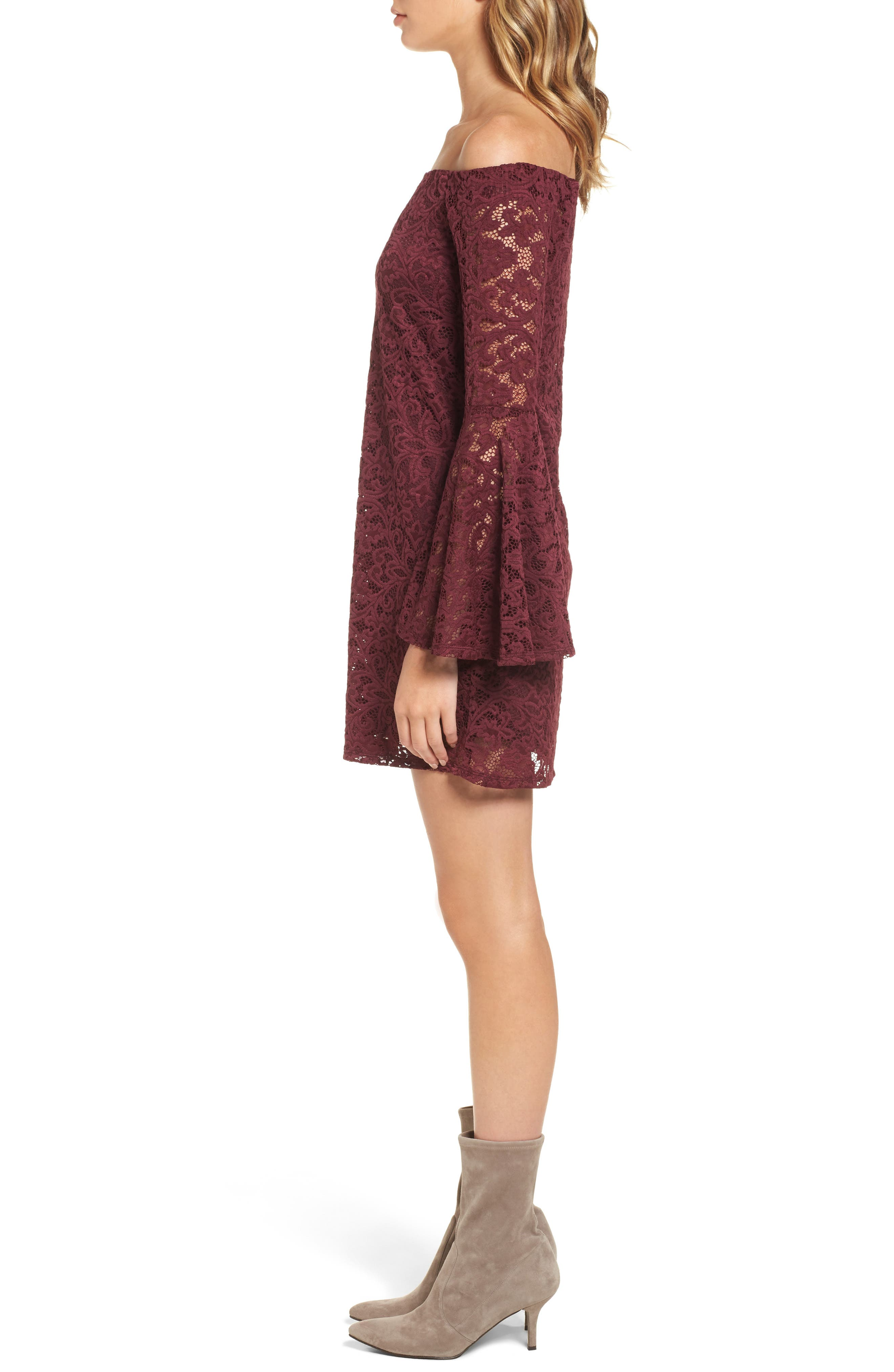 Lace Bell Sleeve Off the Shoulder Dress,                             Alternate thumbnail 3, color,                             930
