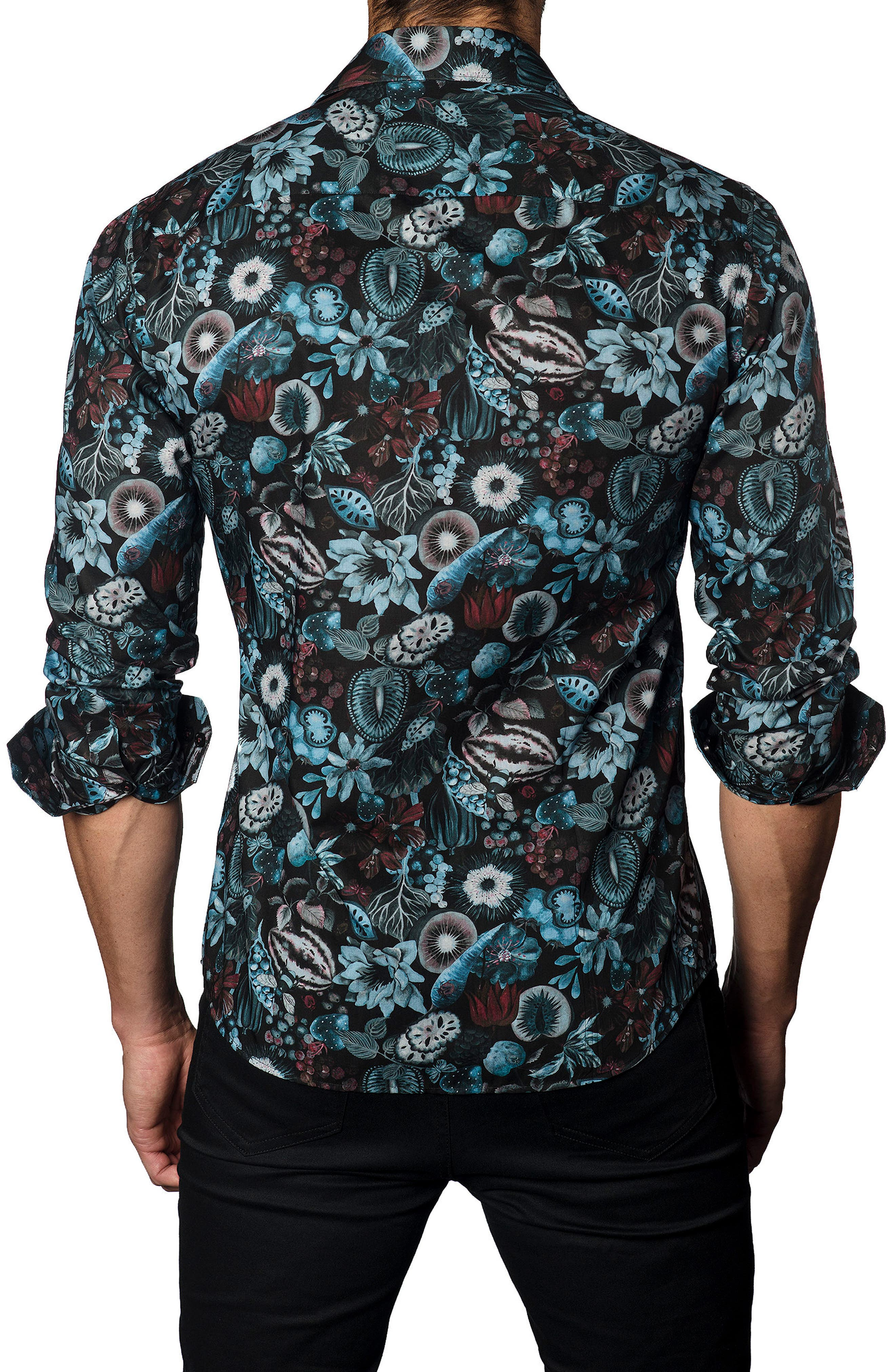 Trim Fit Black Garden Print Sport Shirt,                             Alternate thumbnail 2, color,                             001