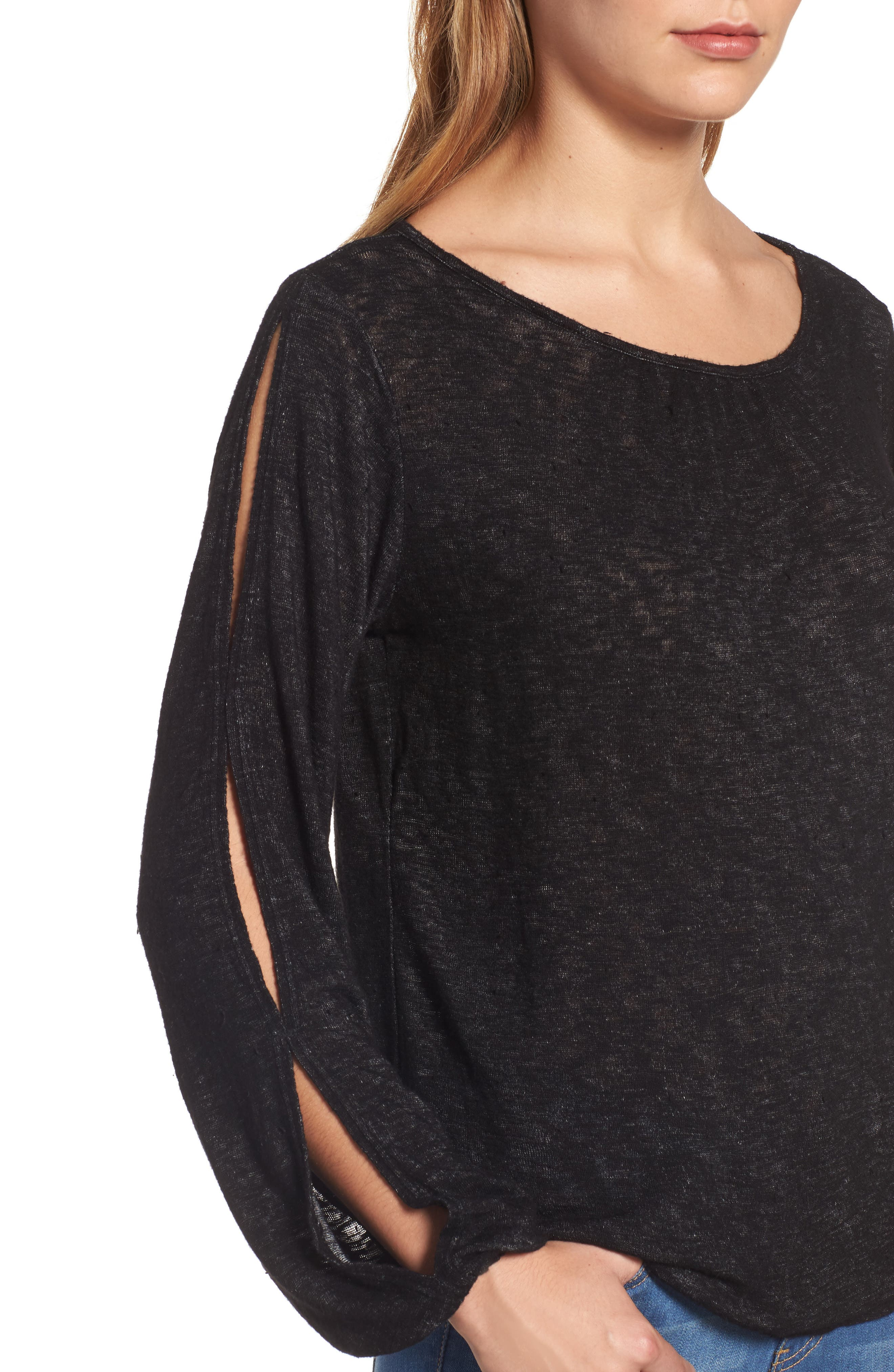 Slit Sleeve Knit Top,                             Alternate thumbnail 4, color,                             001
