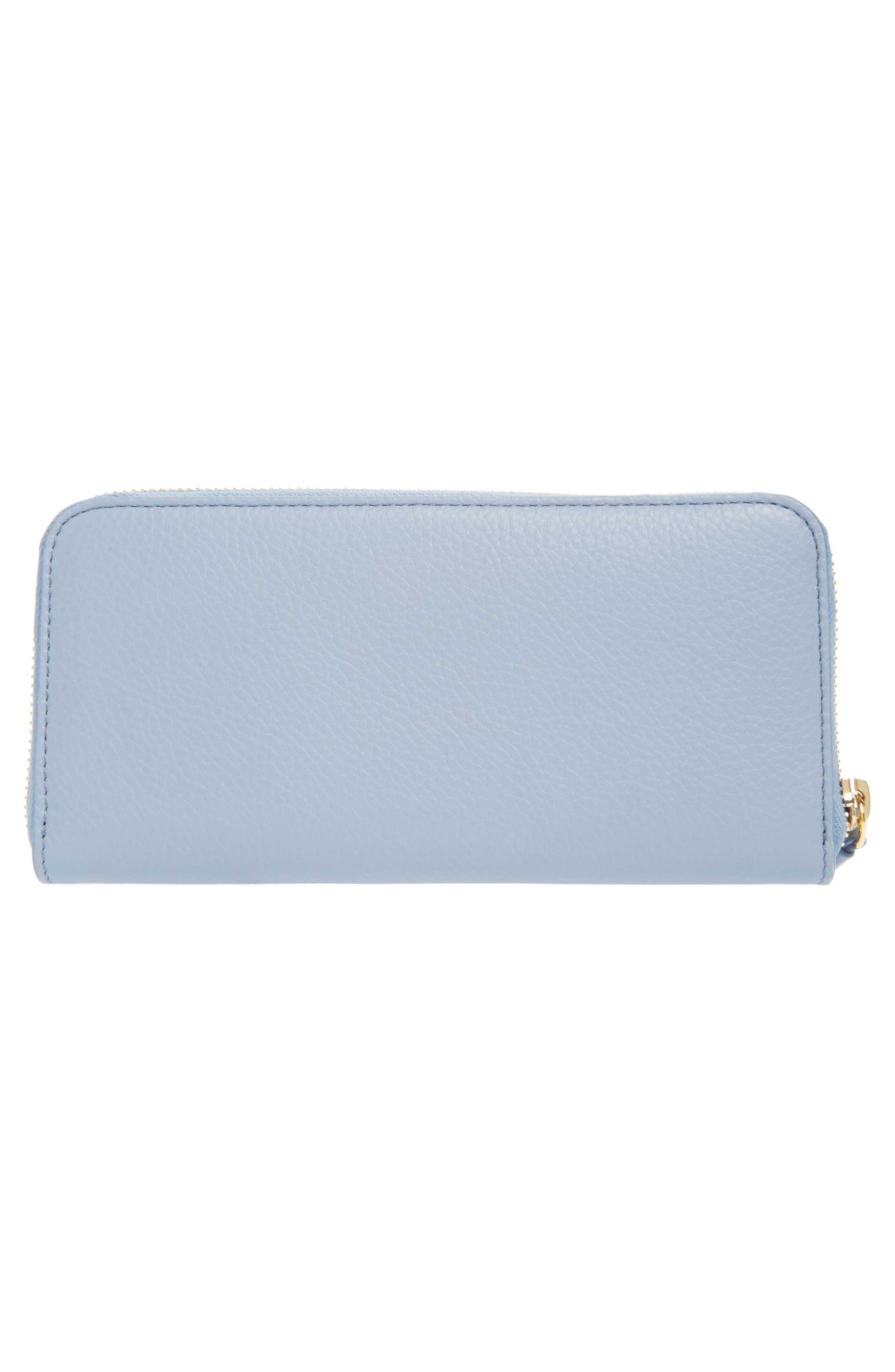 Messages Love Zip Around Leather Wallet,                             Alternate thumbnail 3, color,                             WASHED BLUE