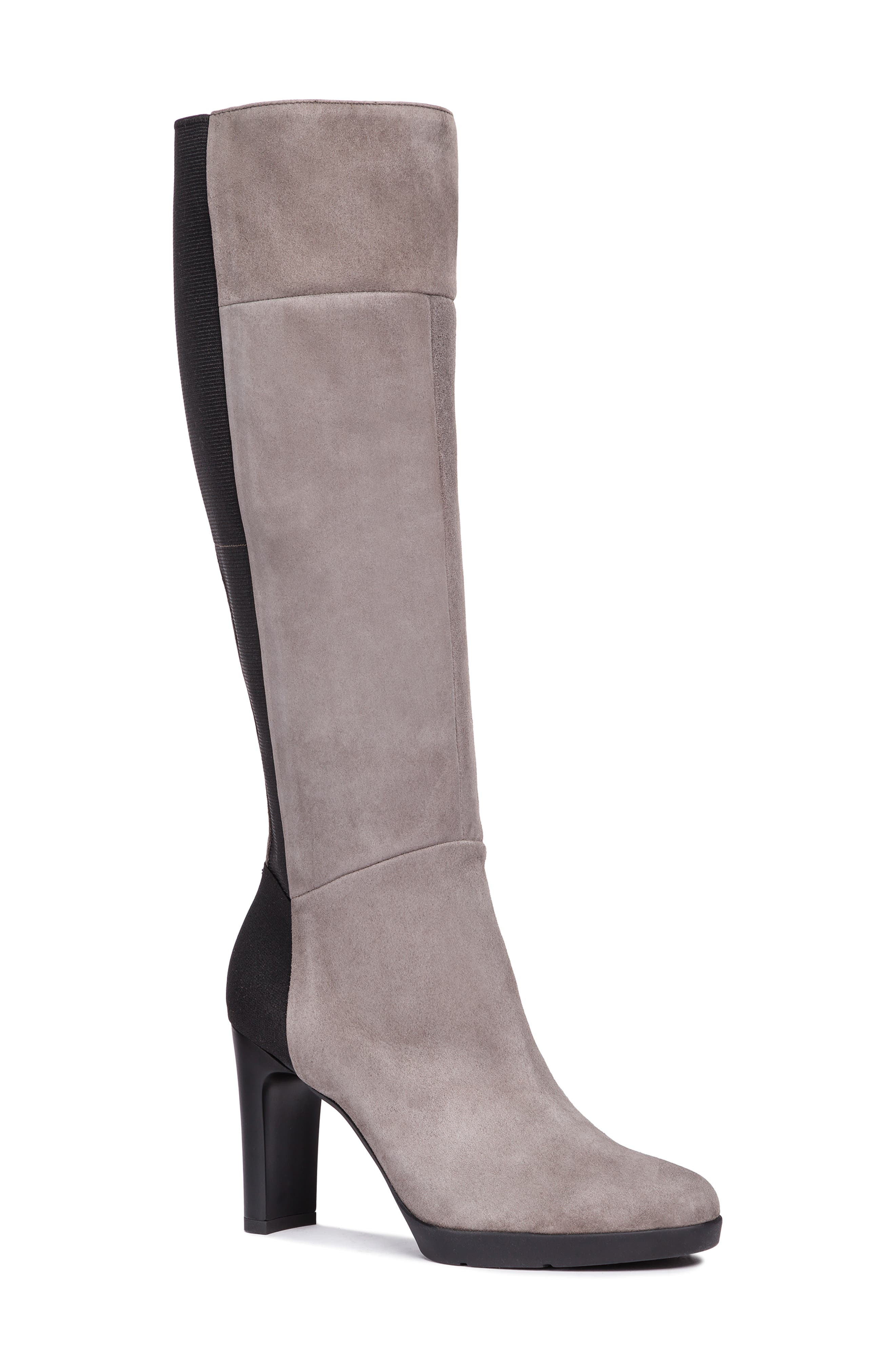 GEOX Annya Knee High Boot, Main, color, CHESTNUT SUEDE