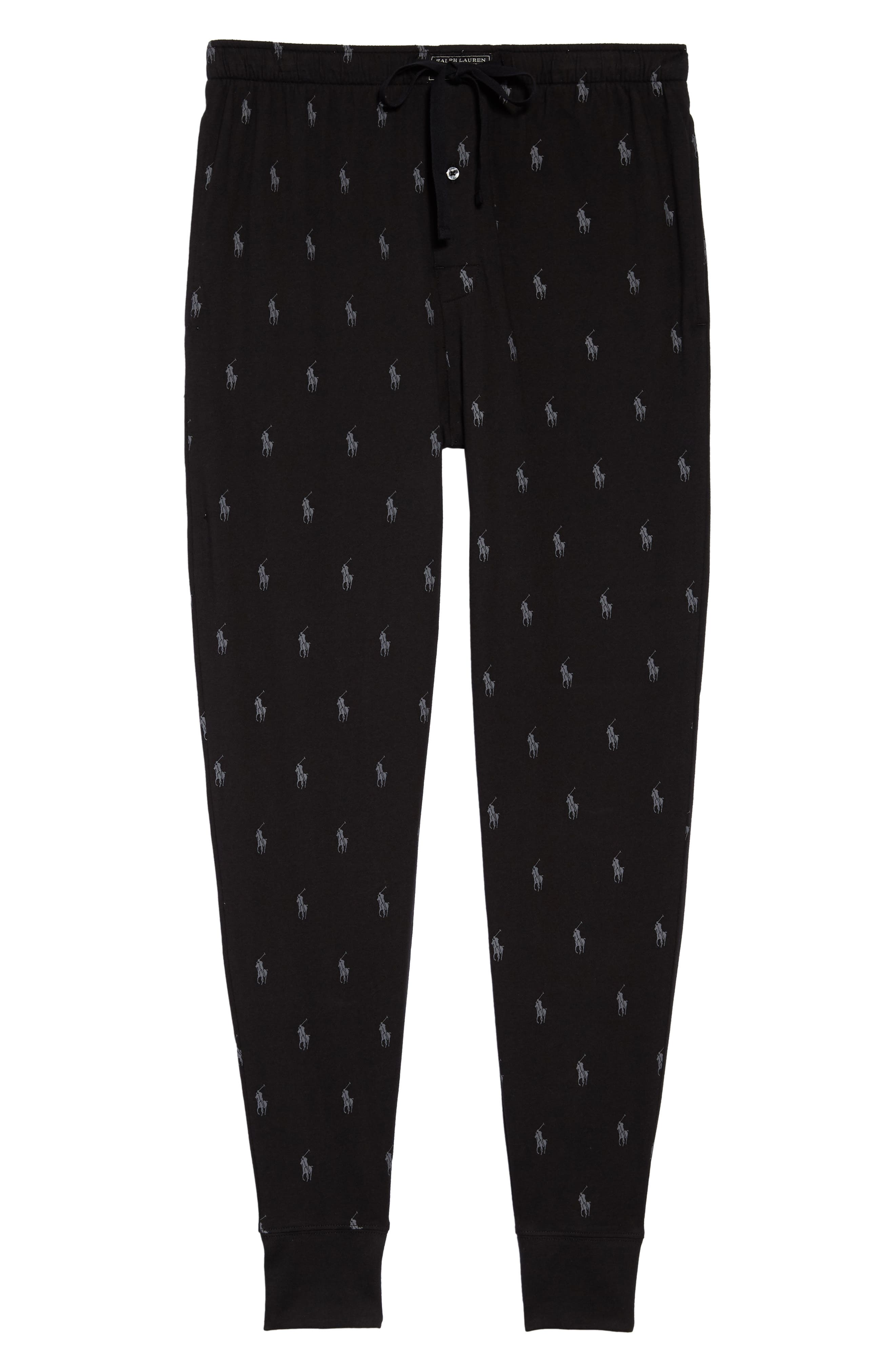 Pony Print Pajama Pants,                             Alternate thumbnail 6, color,                             POLO BLACK