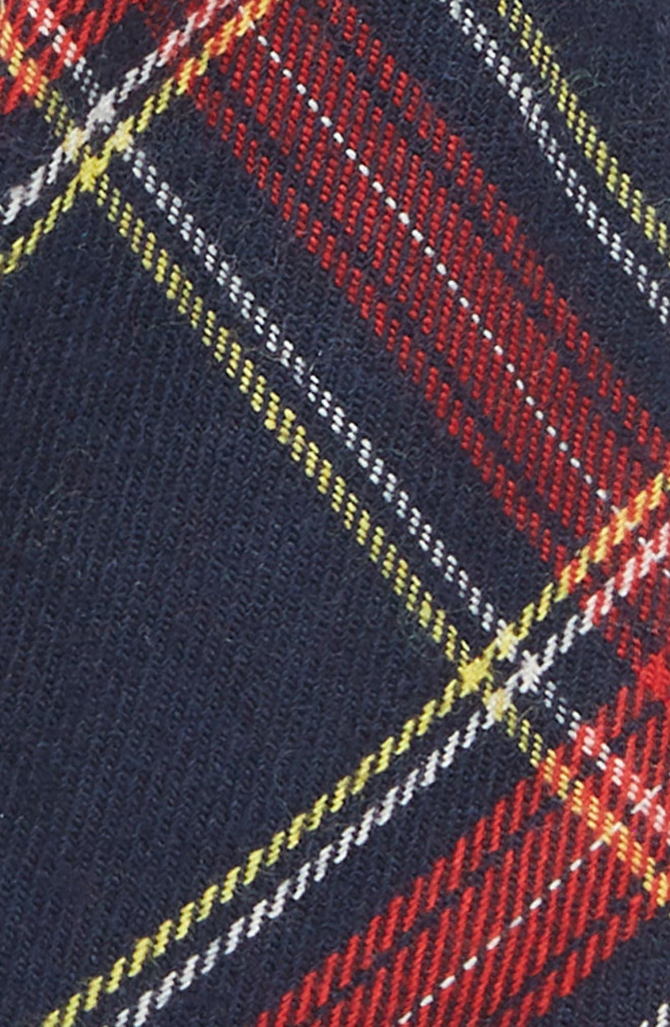 Tartan Cotton Blend Tie,                             Alternate thumbnail 2, color,                             NAVY