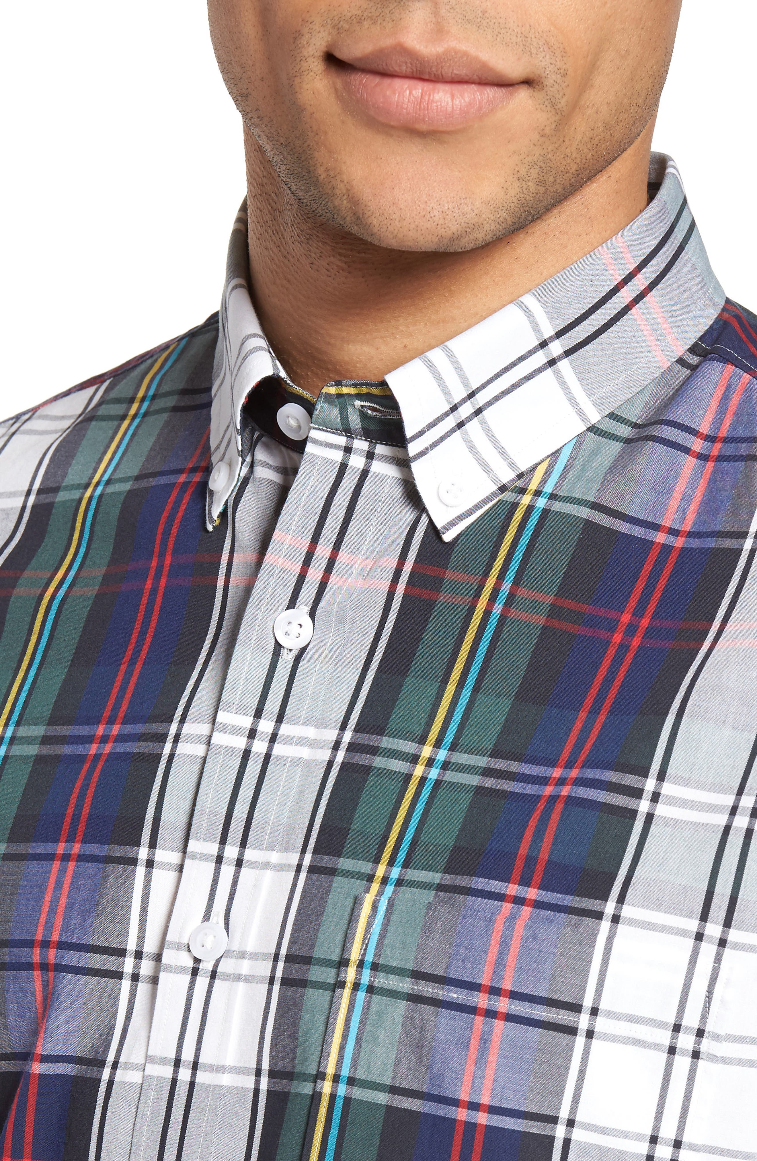 Slim Fit Plaid Sport Shirt,                             Alternate thumbnail 4, color,                             401