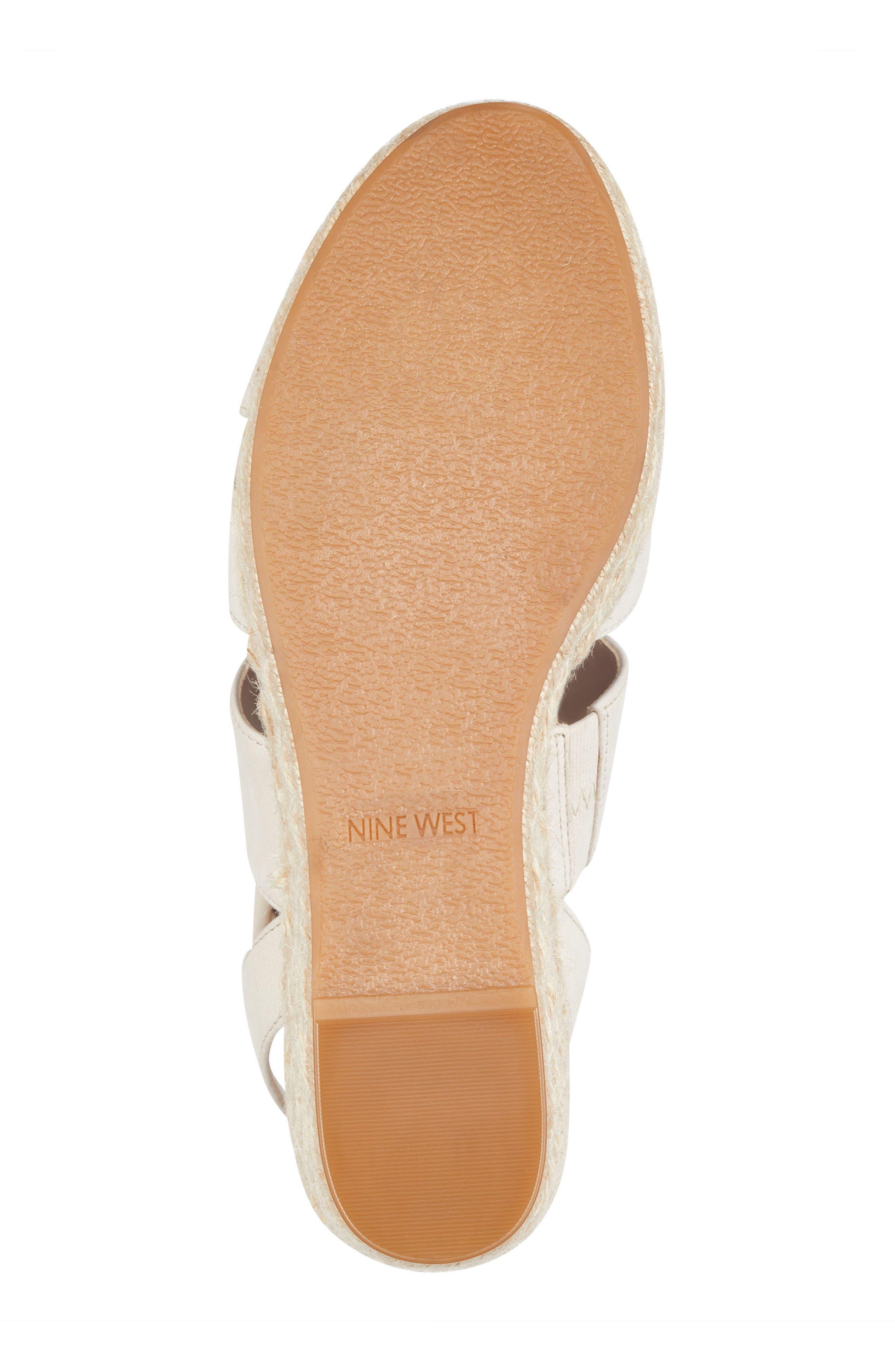 Kushala Espadrille Platform Wedge Sandal,                             Alternate thumbnail 6, color,                             OFF WHITE LEATHER