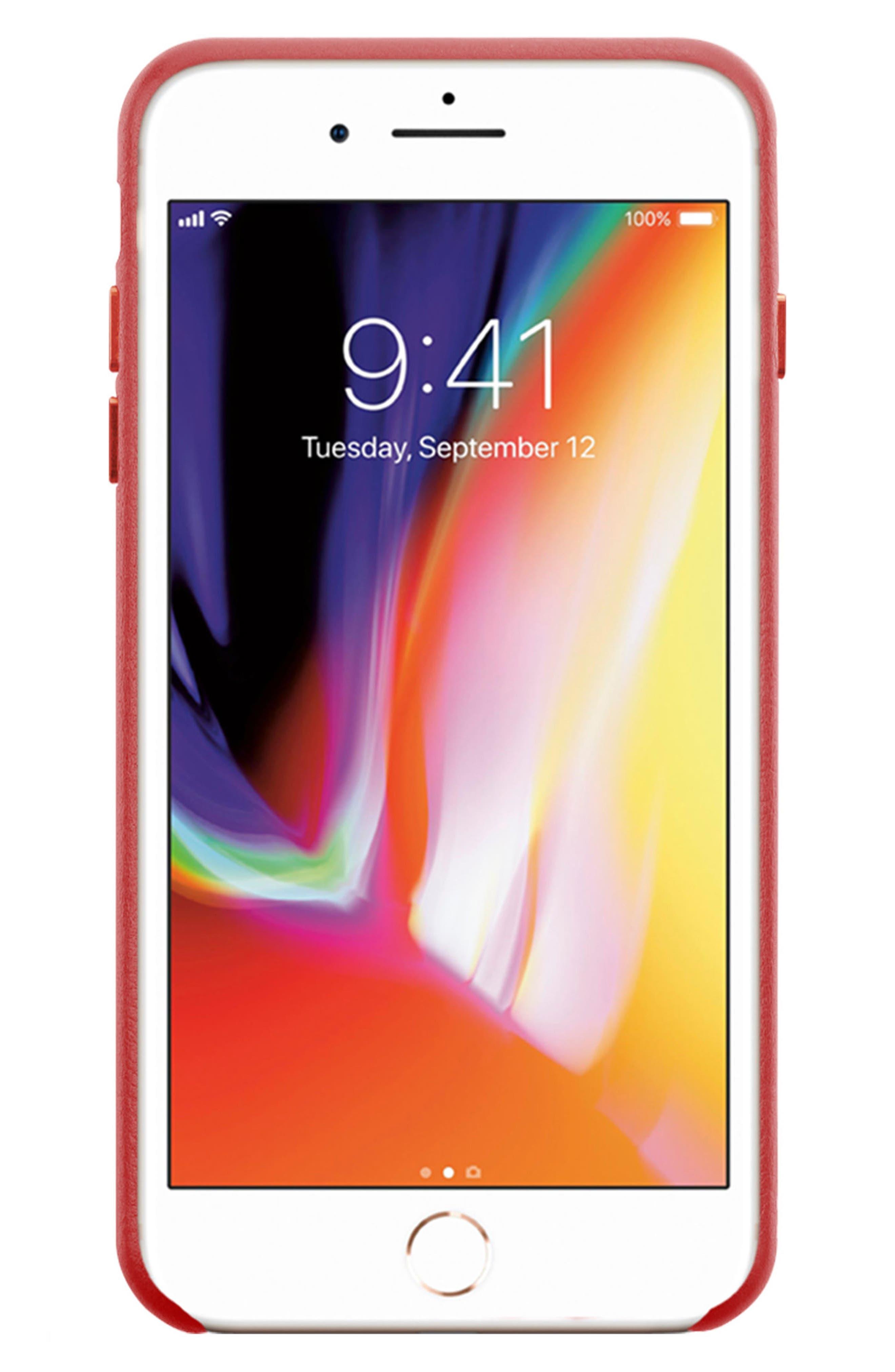 x Clare V. Oui Leather iPhone 7/8 & 7/8 Plus Case,                             Alternate thumbnail 3, color,                             600