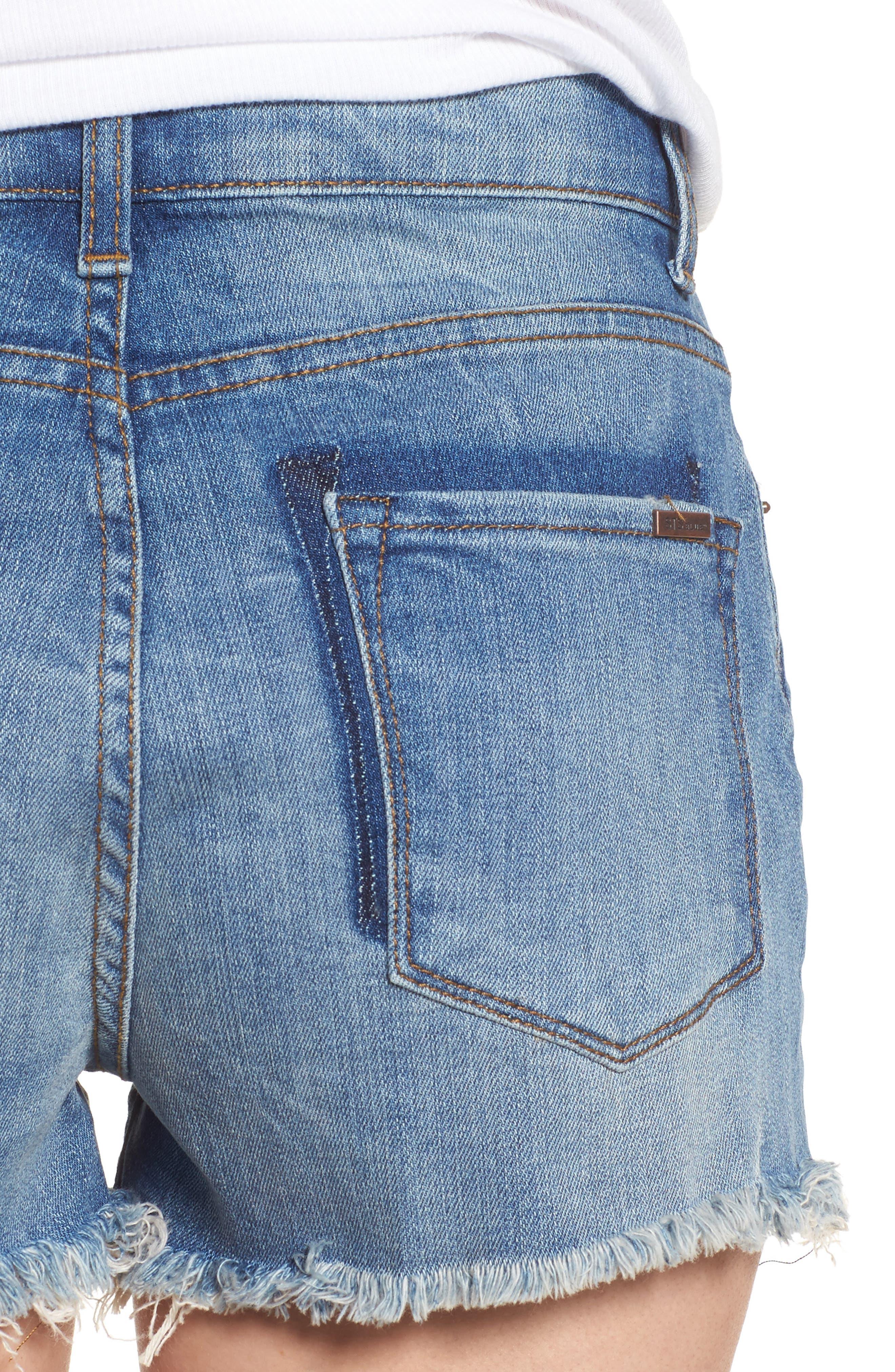 Rosebowl Shadow Pocket Denim Shorts,                             Alternate thumbnail 4, color,                             403