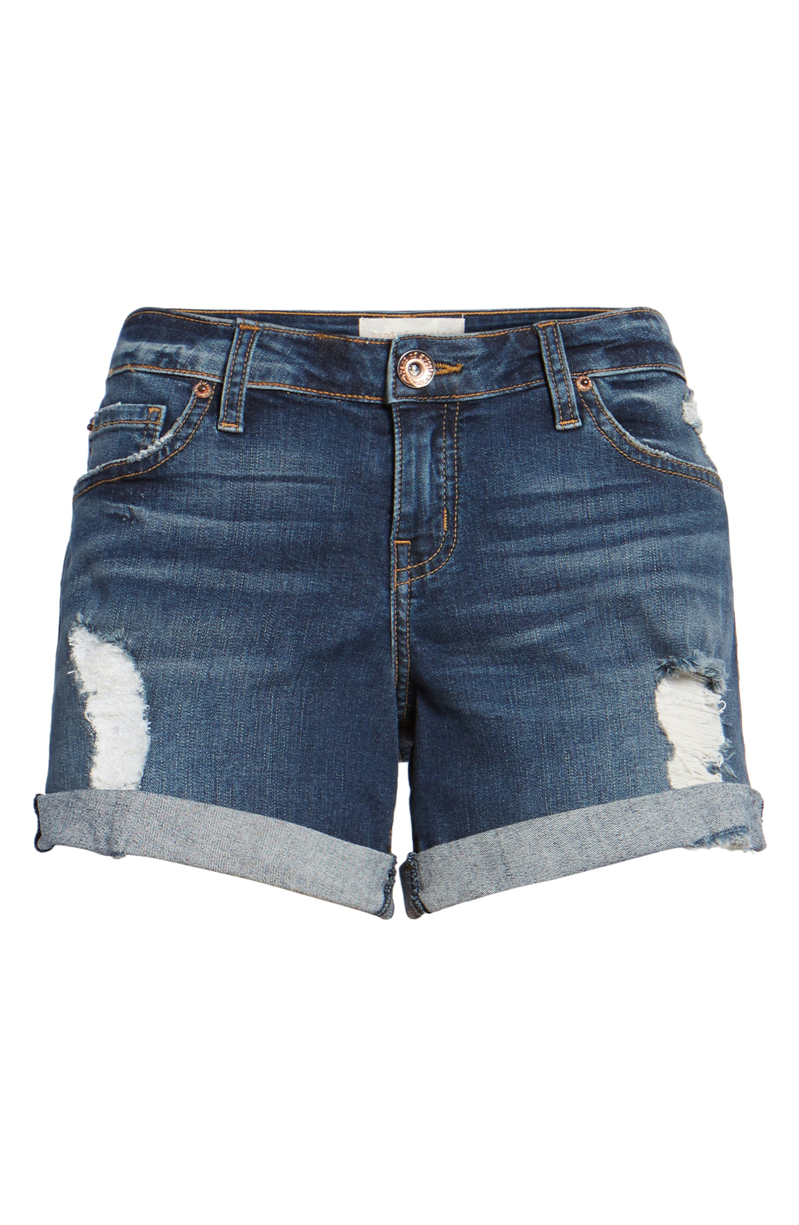 Allie Boyfriend Denim Shorts,                             Alternate thumbnail 6, color,                             400