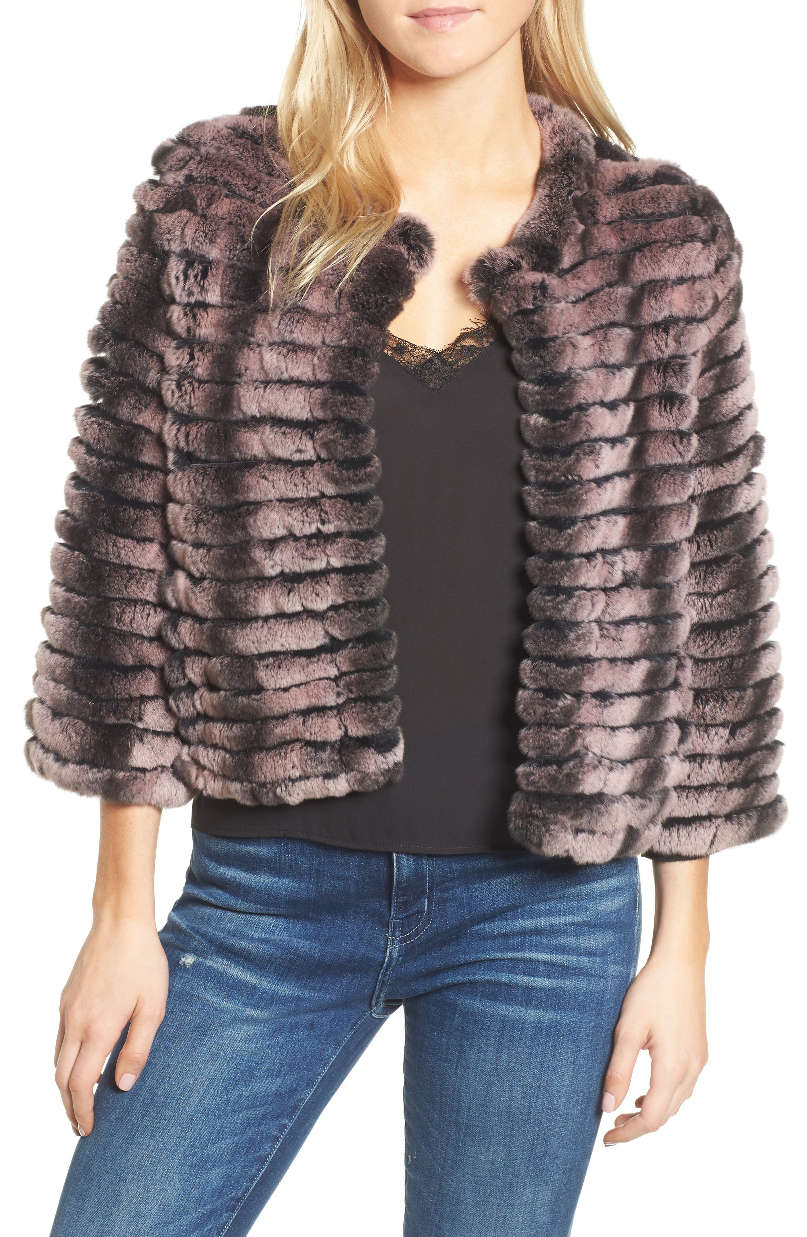 Genuine Rabbit Fur Crop Jacket,                             Main thumbnail 2, color,